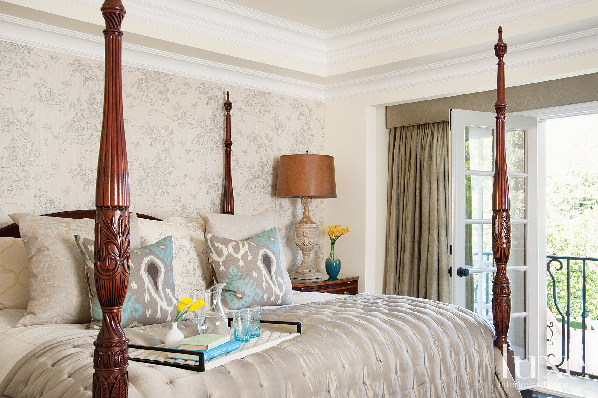 Traditional Neutral Bedroom with Ikat Pillows