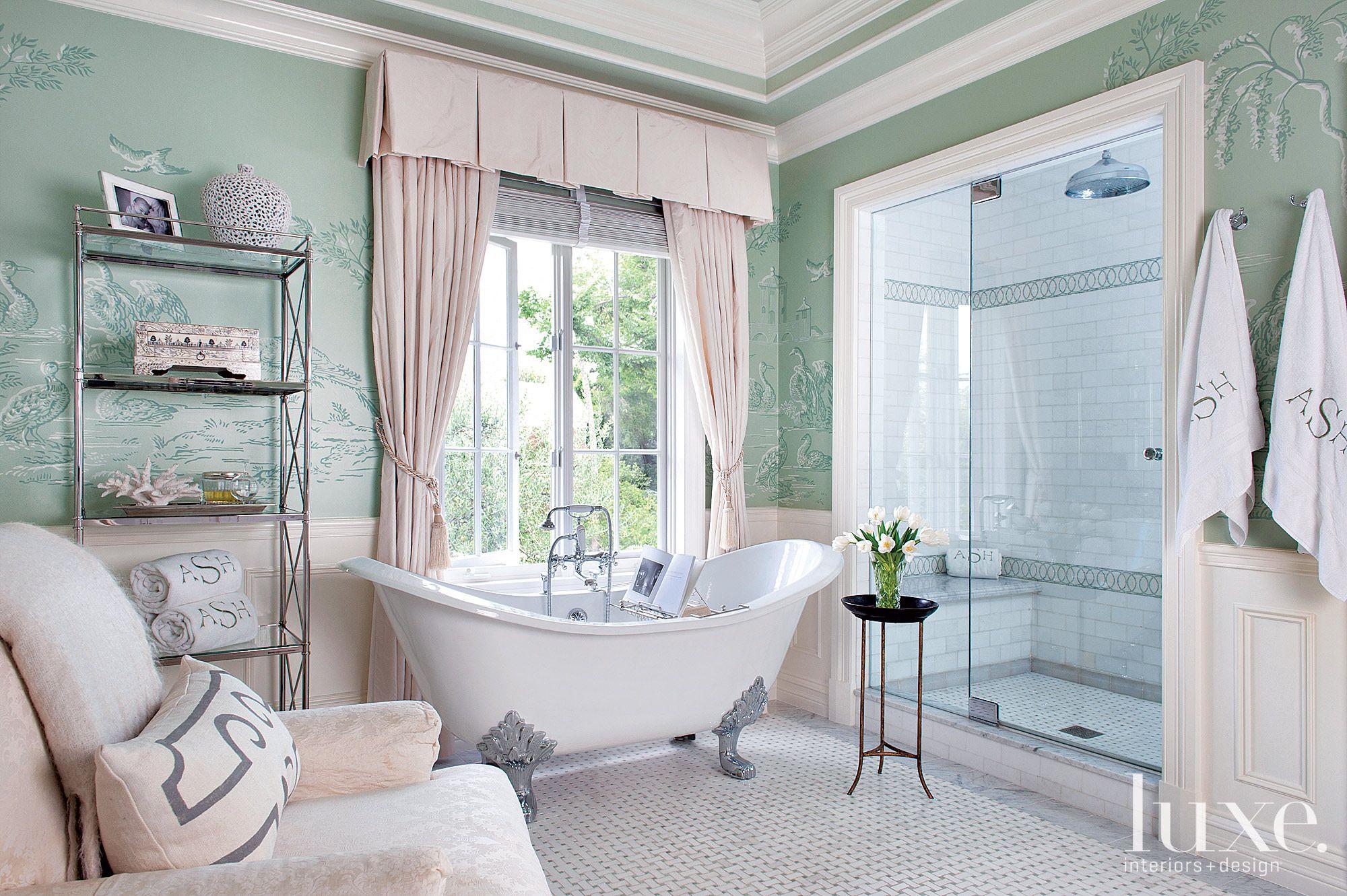 Traditional Green Bathroom with Clawfoot Tub
