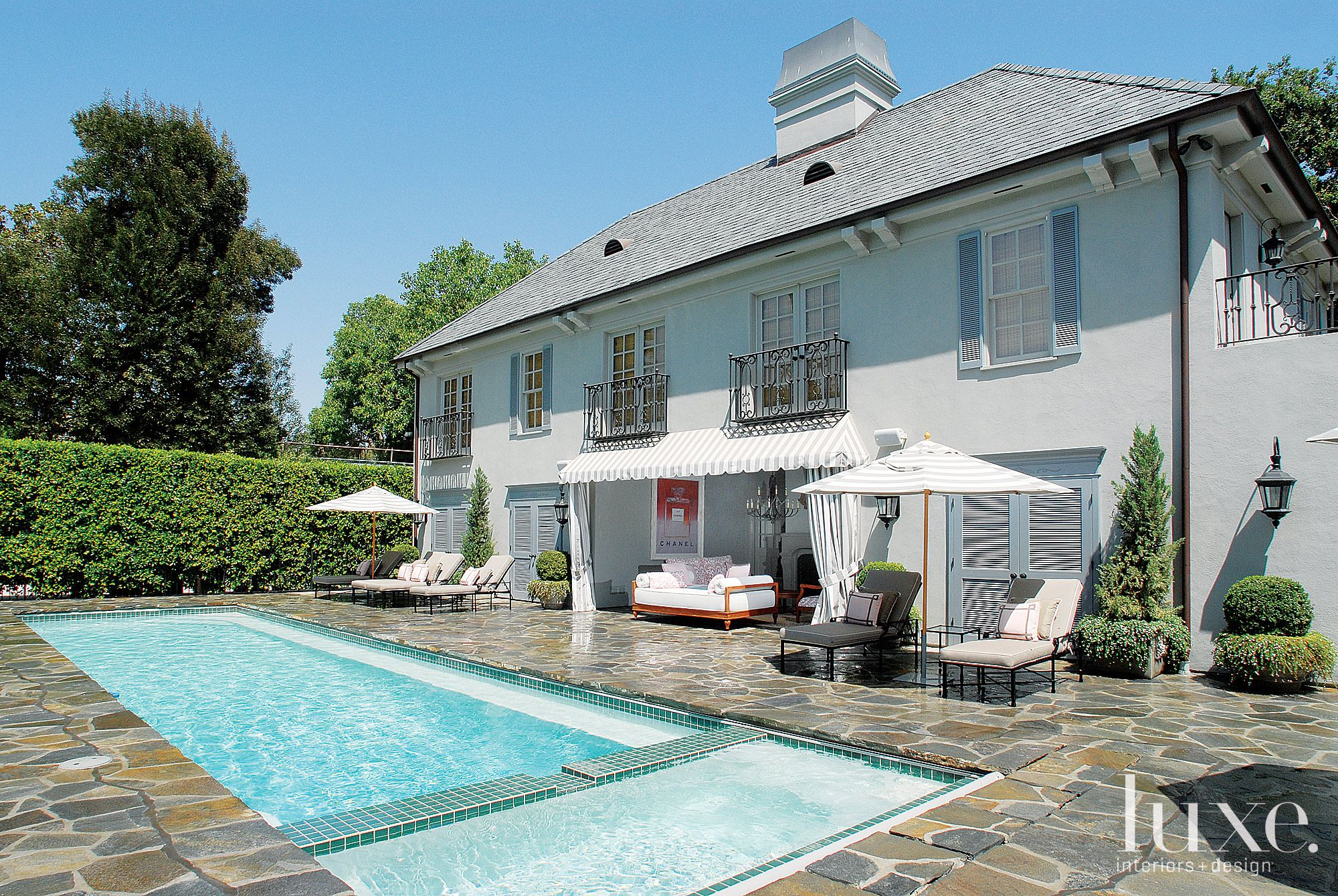 Traditional Gray Exterior with Lap Pool