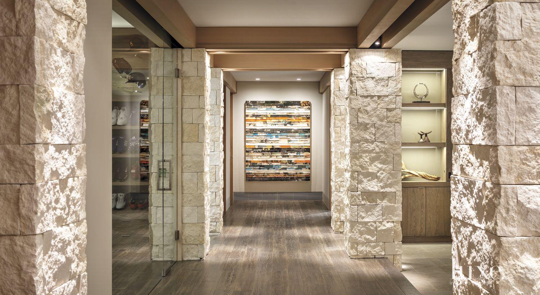 Modern Limestone Gallery Hallway