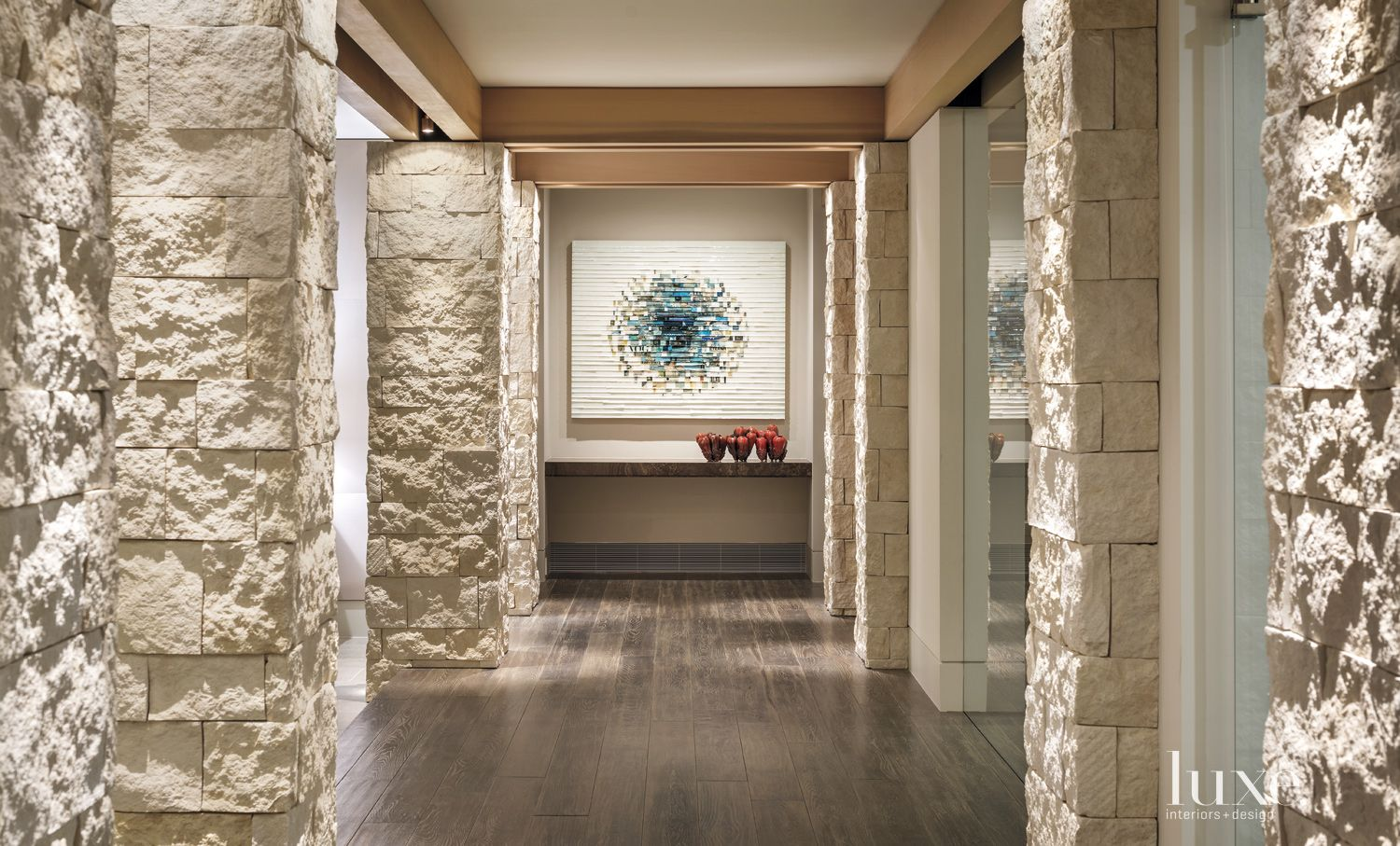 Modern Limestone Ground-Floor Hallway