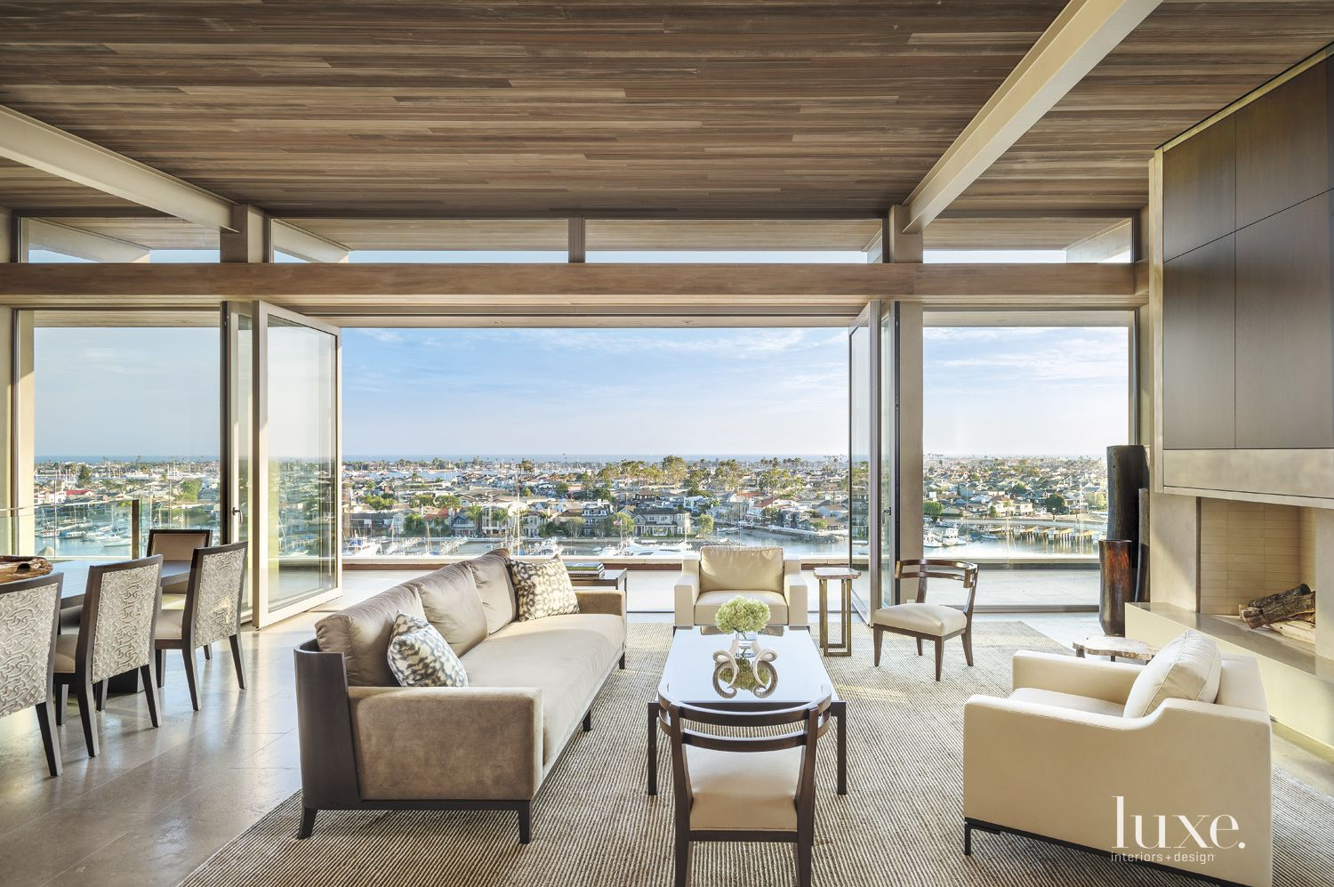 Modern Neutral Family Room with Views of Newport Harbor