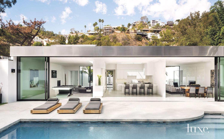 Modern White Open Air Poolside Terrace