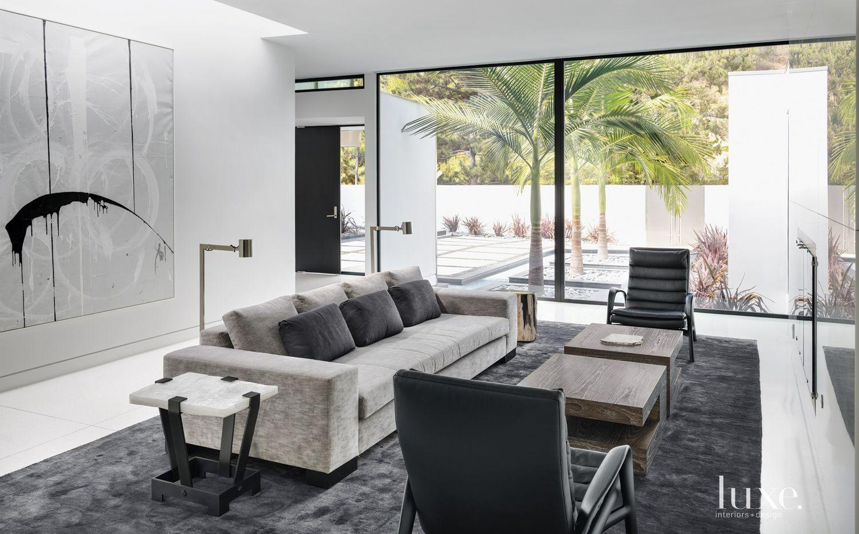 Modern White Living Room with Velvet Sofa