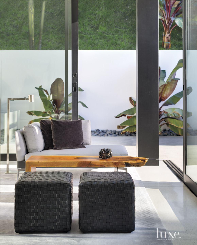 Modern Glass Master Bedroom Sitting Area