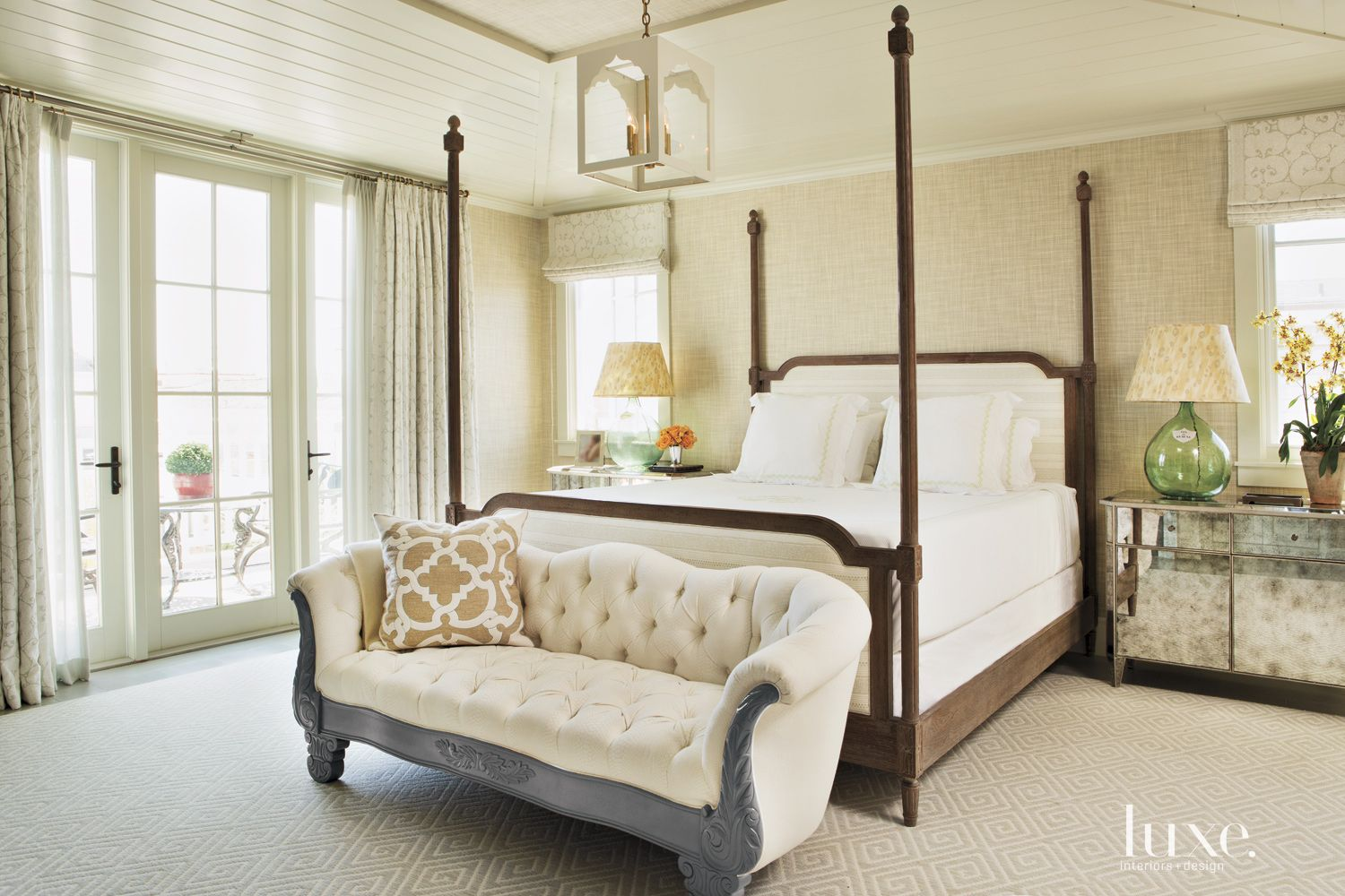 Contemporary Cream Master Bedroom with Four-Poster Bed