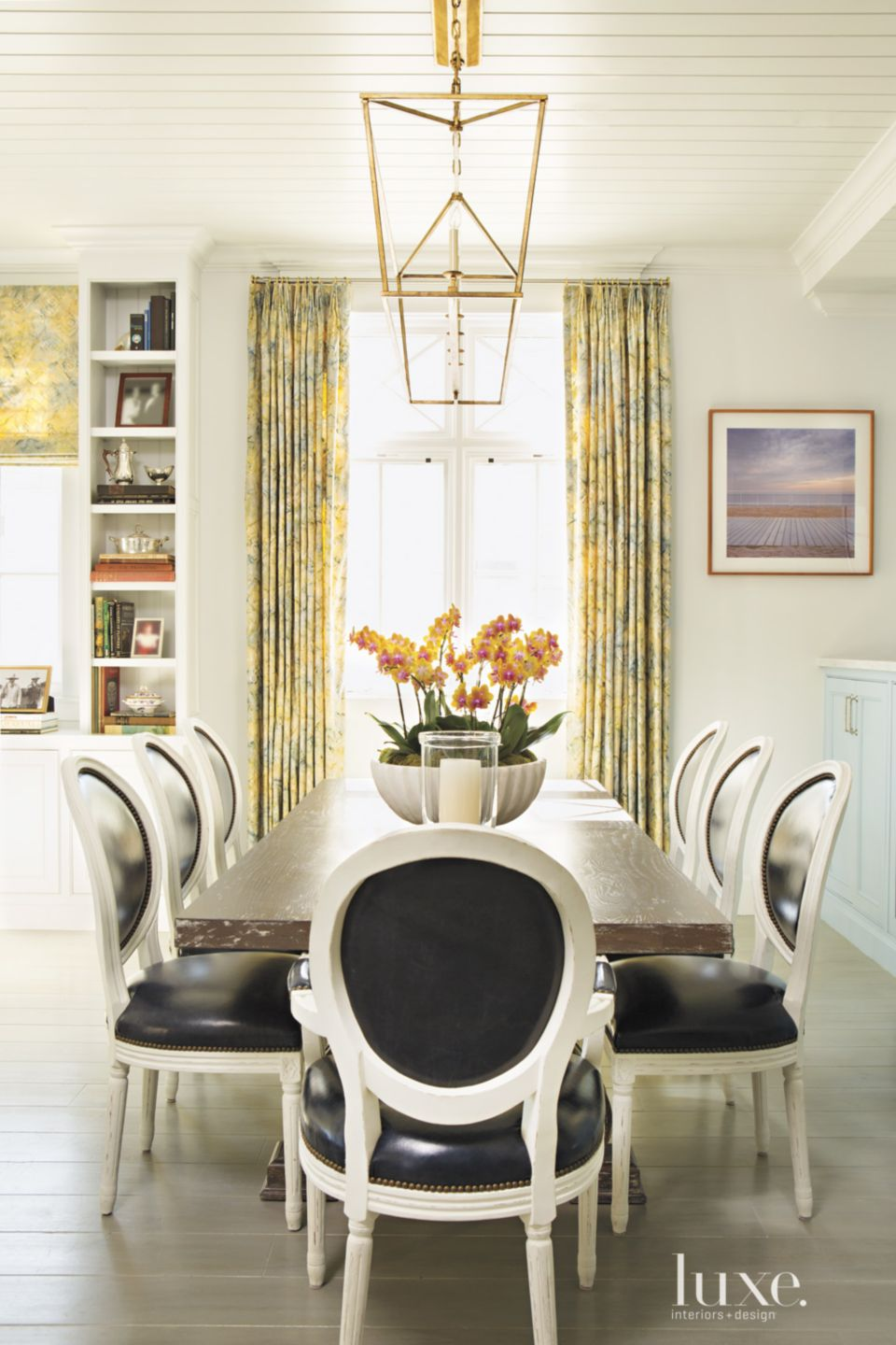 Contemporary Cream Dining Room with Beadboard Ceiling