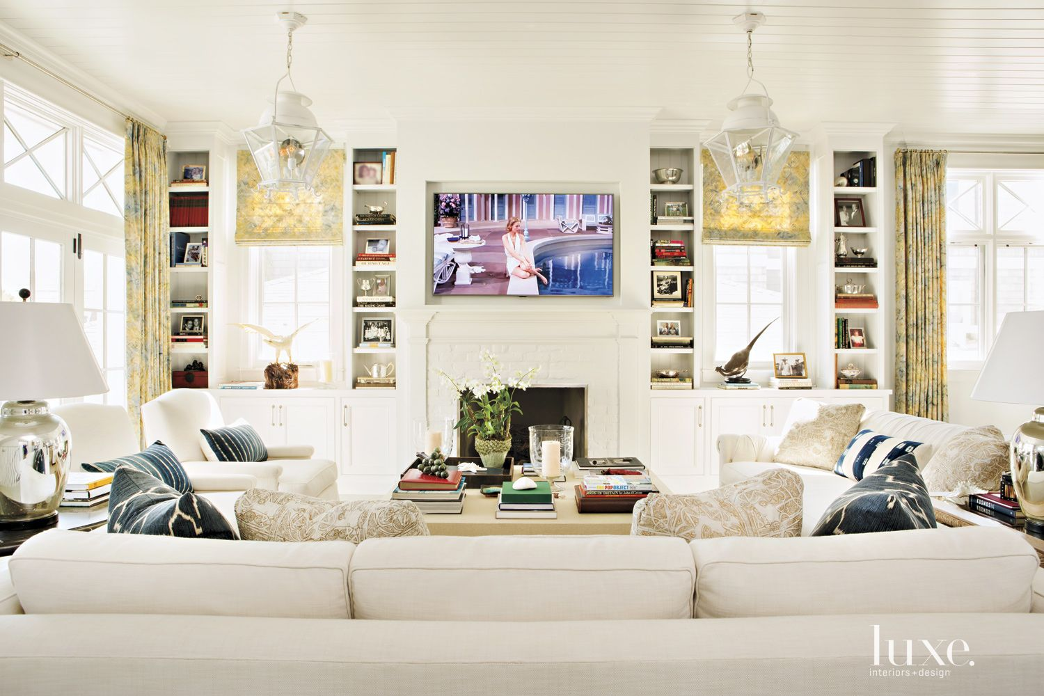 Contemporary Cream Living Room with Beadboard Ceiling