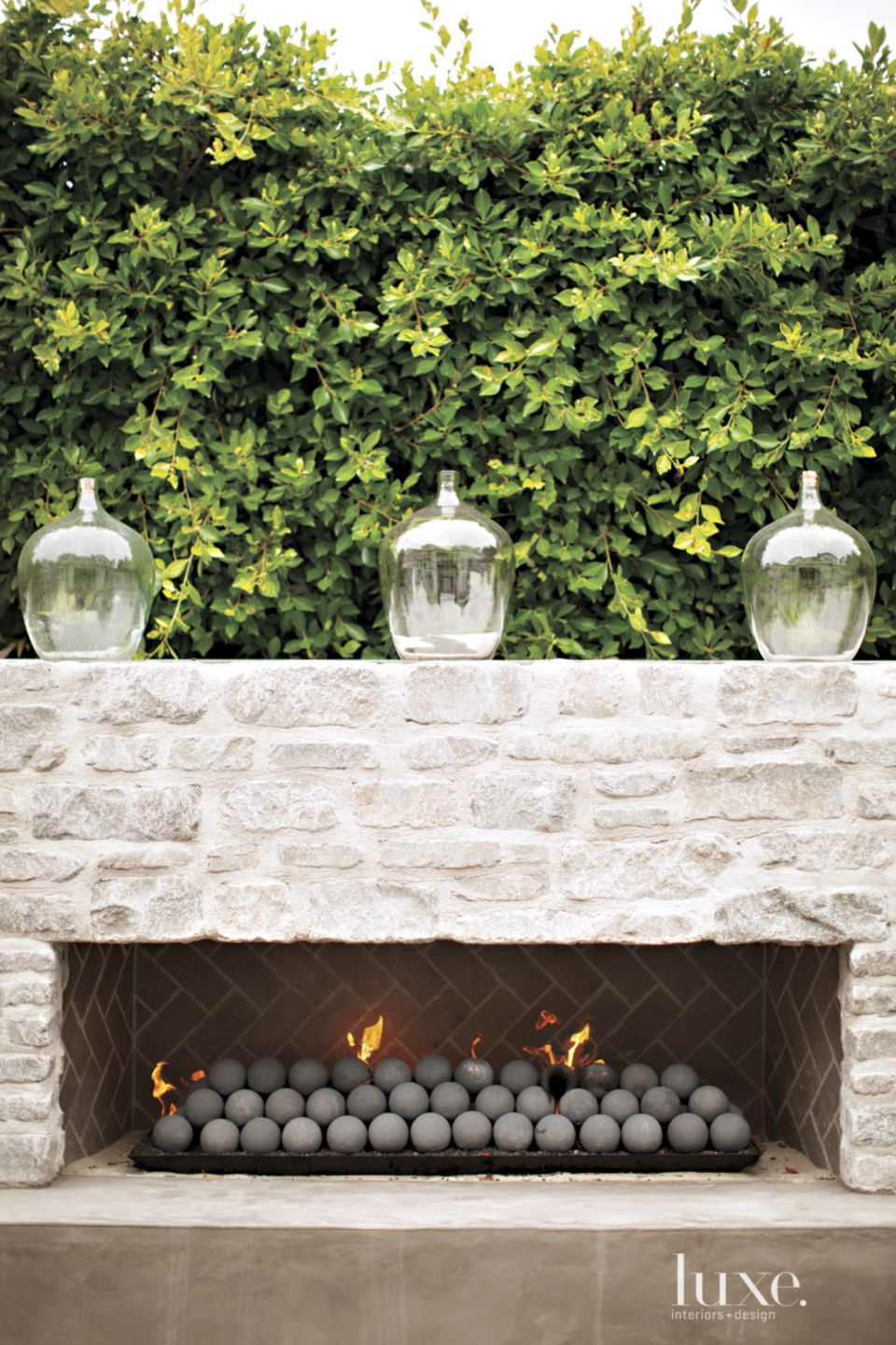 Contemporary Rectilinear Outdoor Fireplace