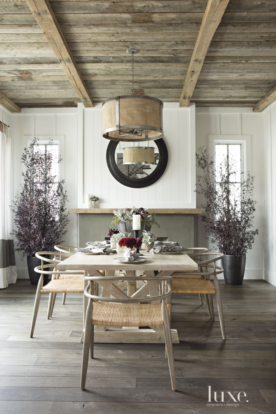 Contemporary White Paneled Dining Room