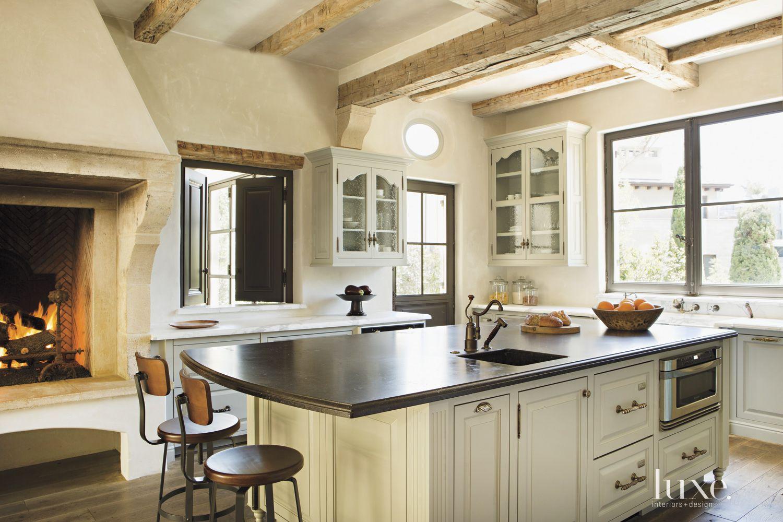 Contemporary Cream Kitchen Fireplace