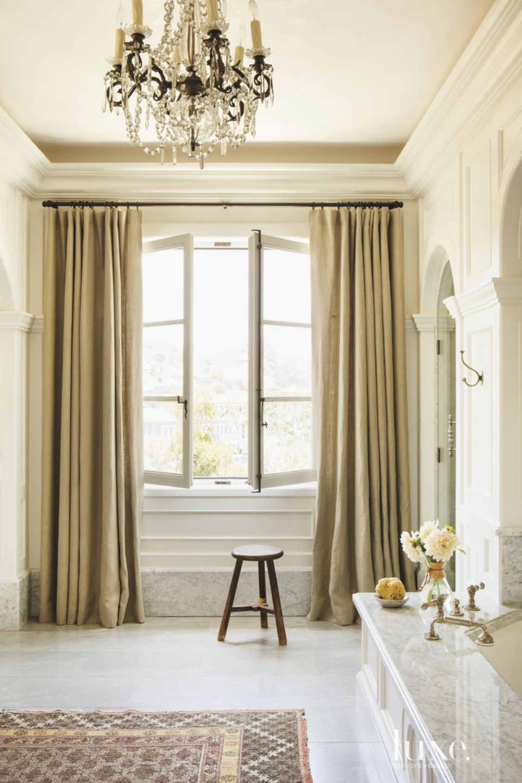Contemporary Cream Master Bath Window