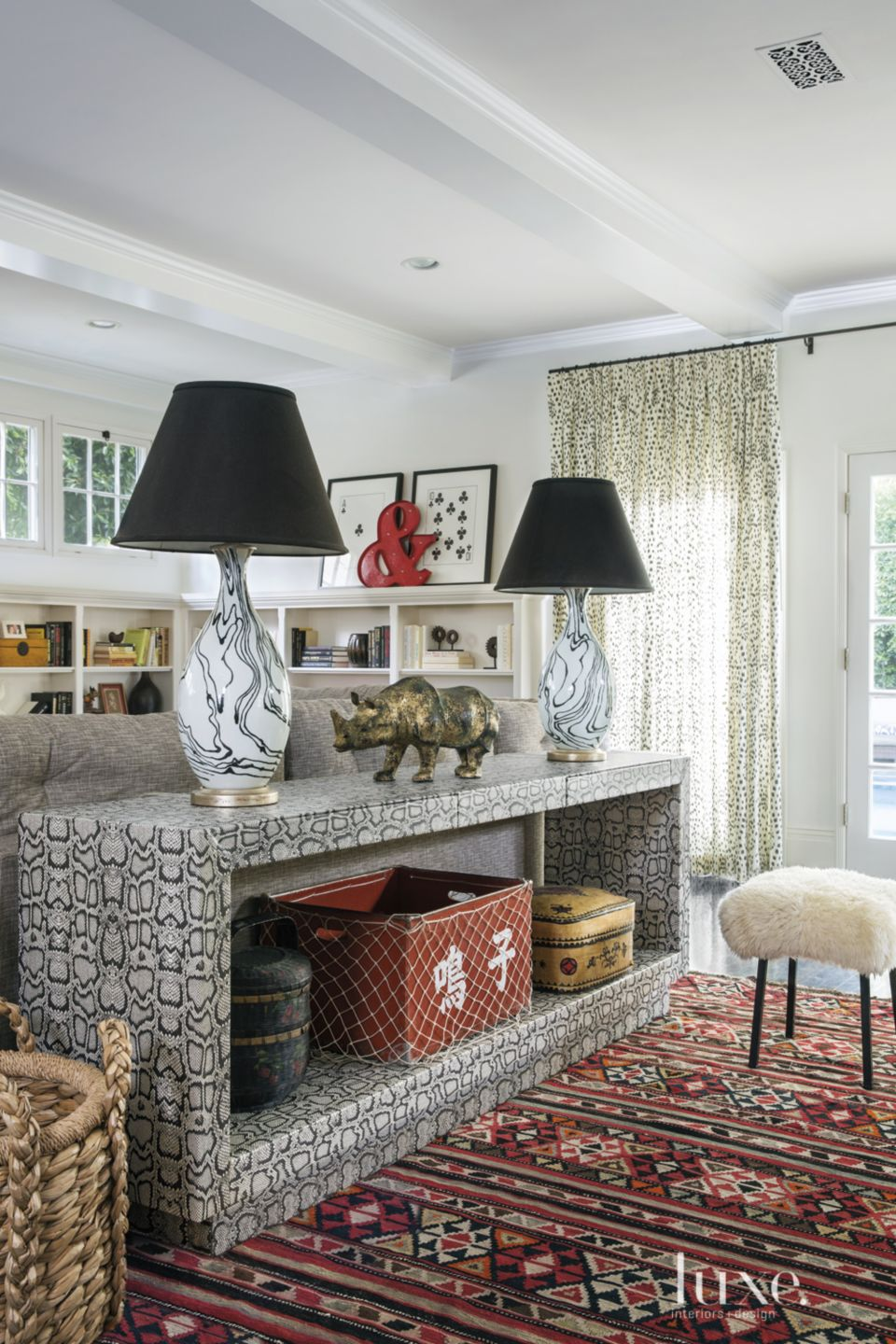 Eclectic White Great Room Python-Patterned Console