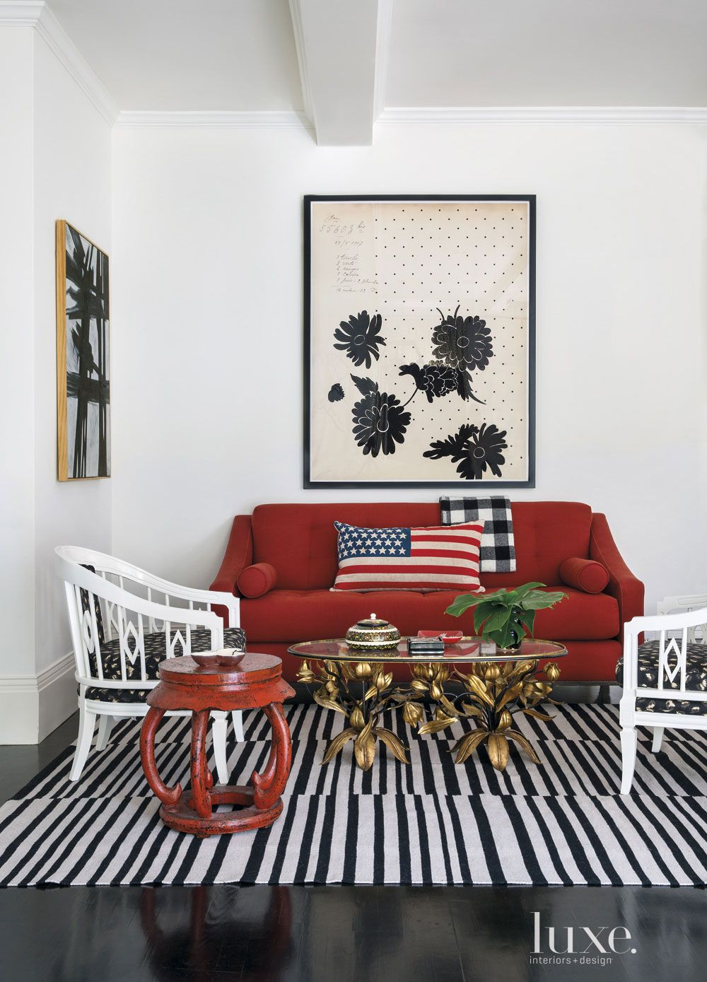 Eclectic White Great Room Seating Area