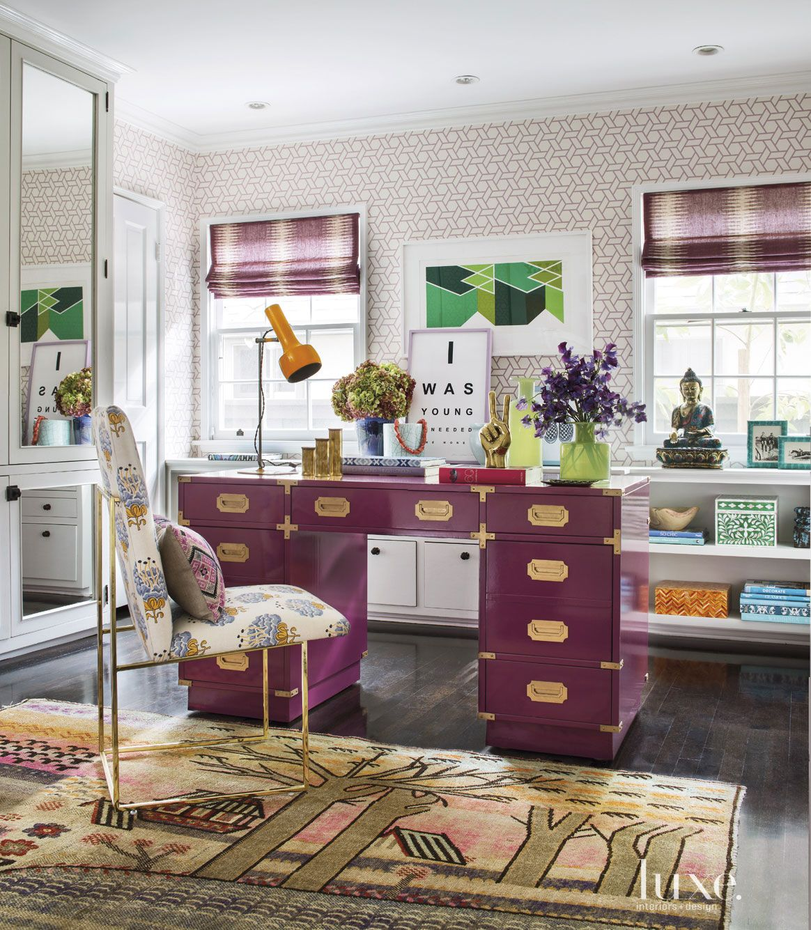 Eclectic Pink Home Office Desk