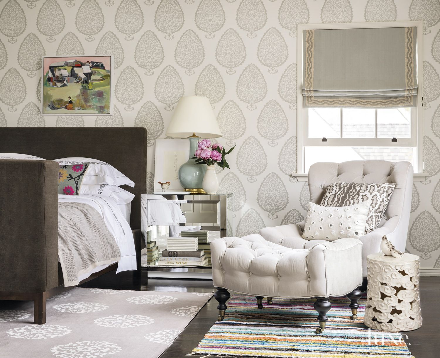 Eclectic Gray Master Bedroom with Tufted Chair
