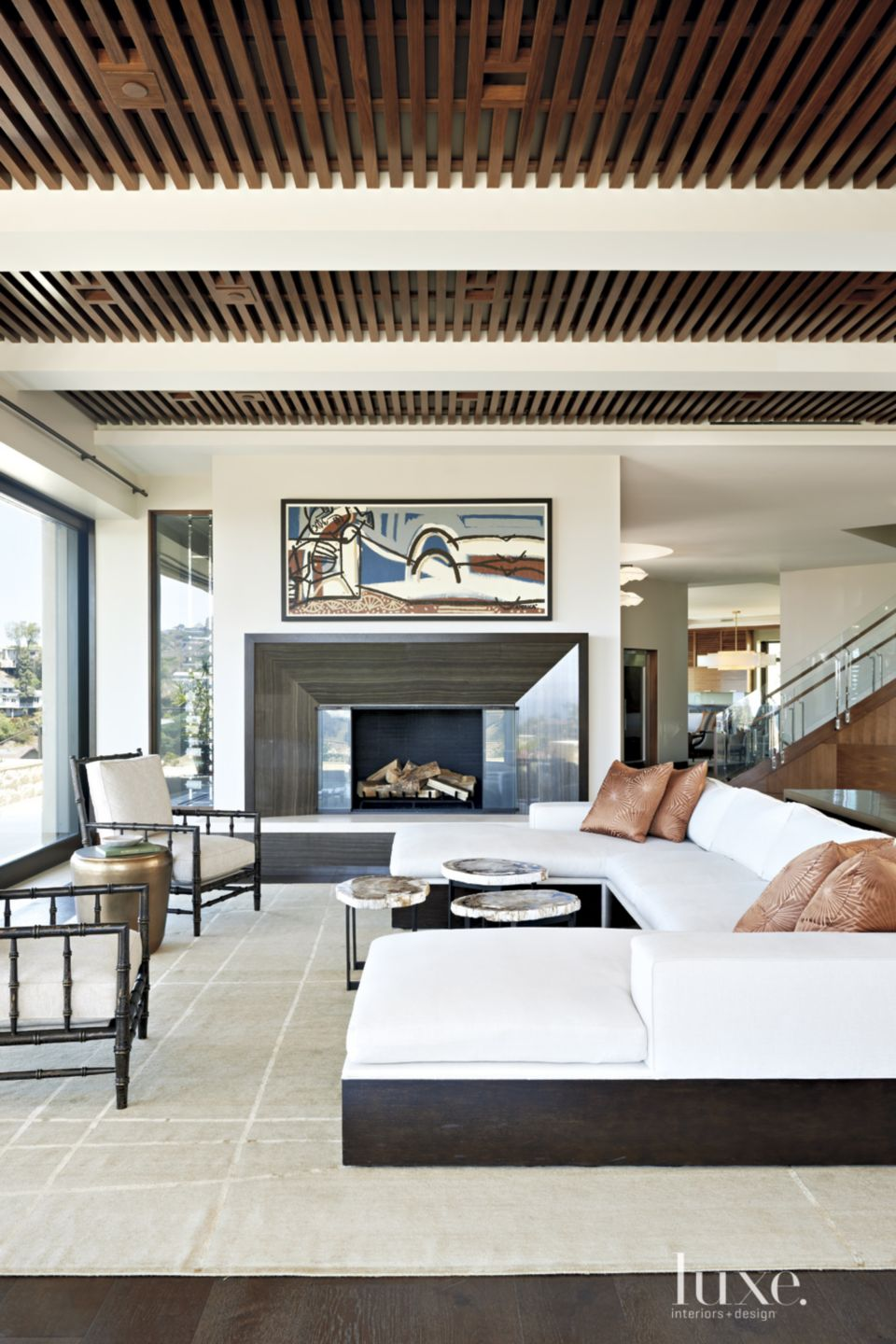 Modern Living Room with Slatted Wood Ceiling