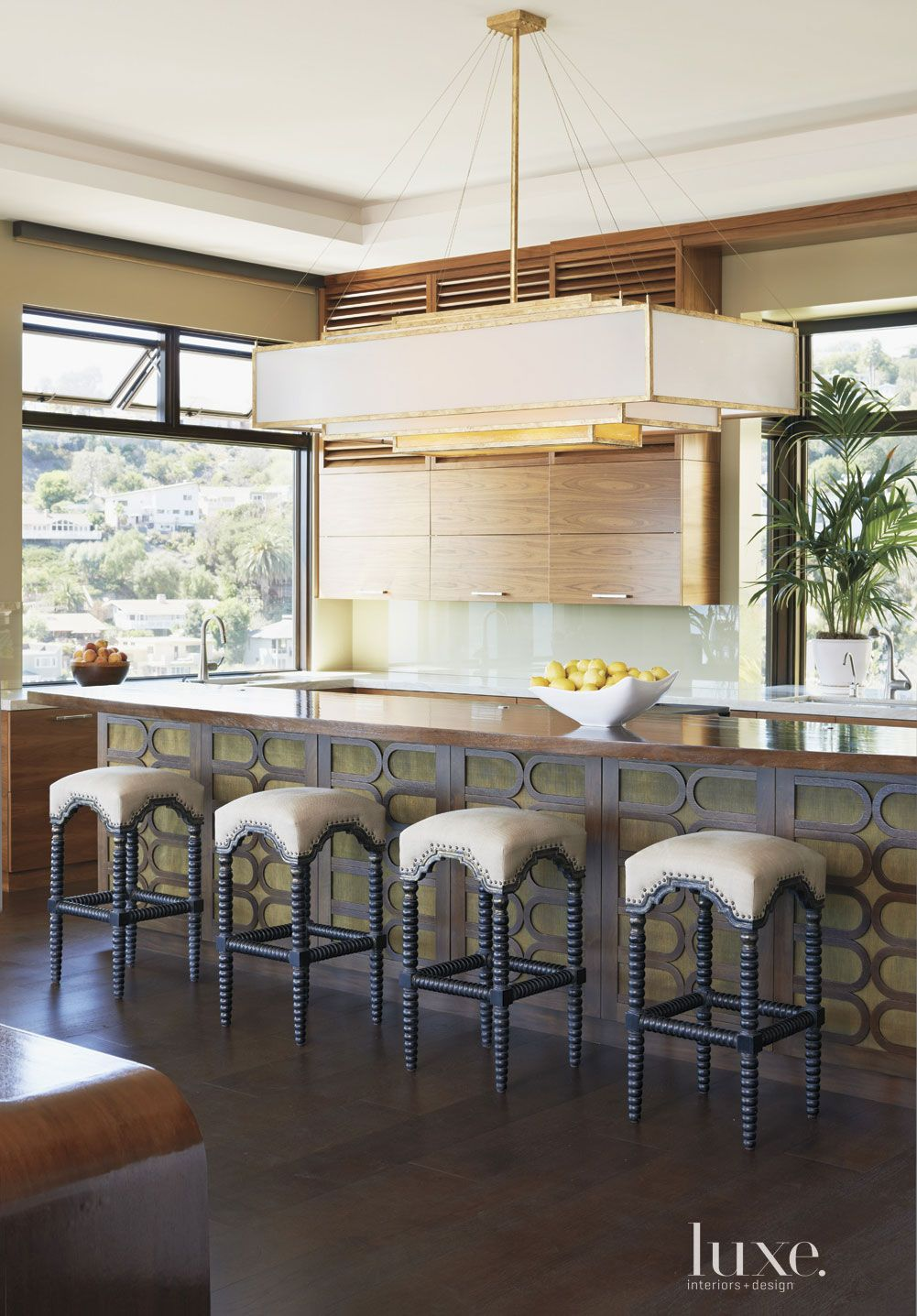 Modern Neutral Kitchen with Wood-Topped Island
