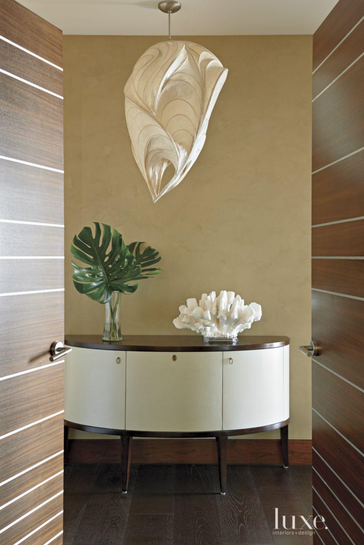 Modern Walnut Door with Metal Insets