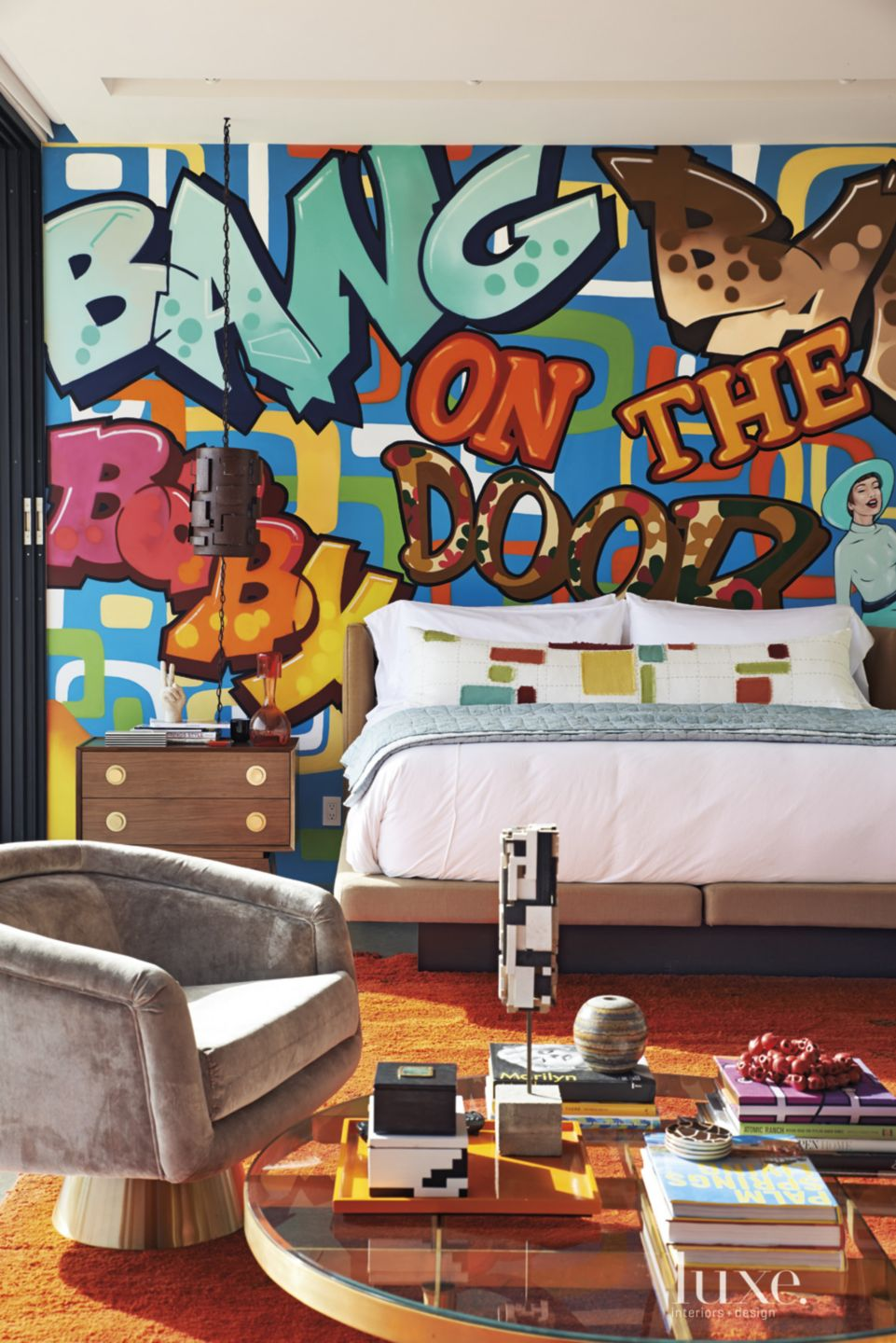 Eclectic Master Bedroom with Graffiti Feature Wall
