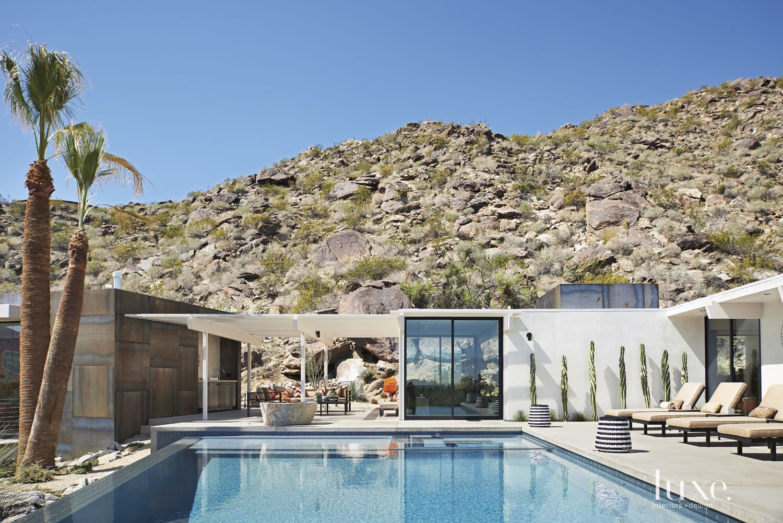 Modern White Poolside Lounge Area
