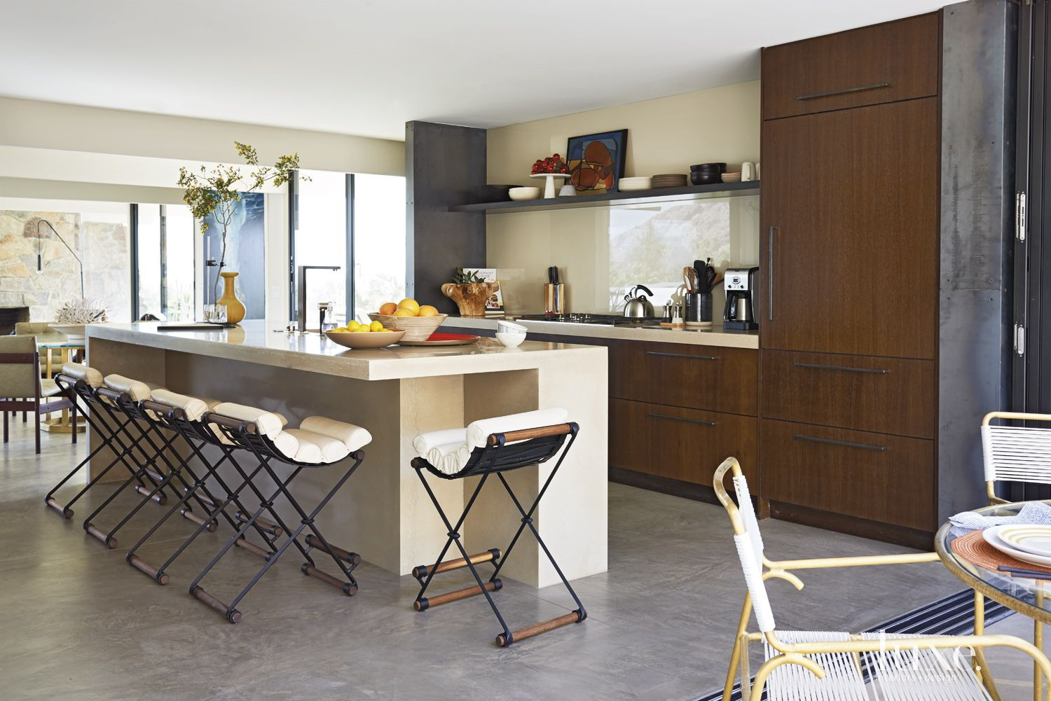 Modern White Kitchen with Vintage-Inspired Furnishings