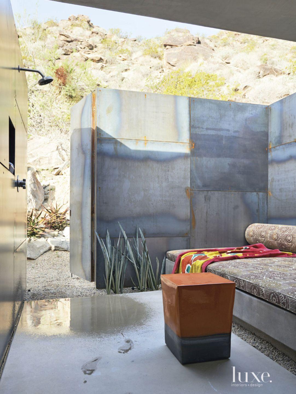 Modern Rolled-Steel Outdoor Shower