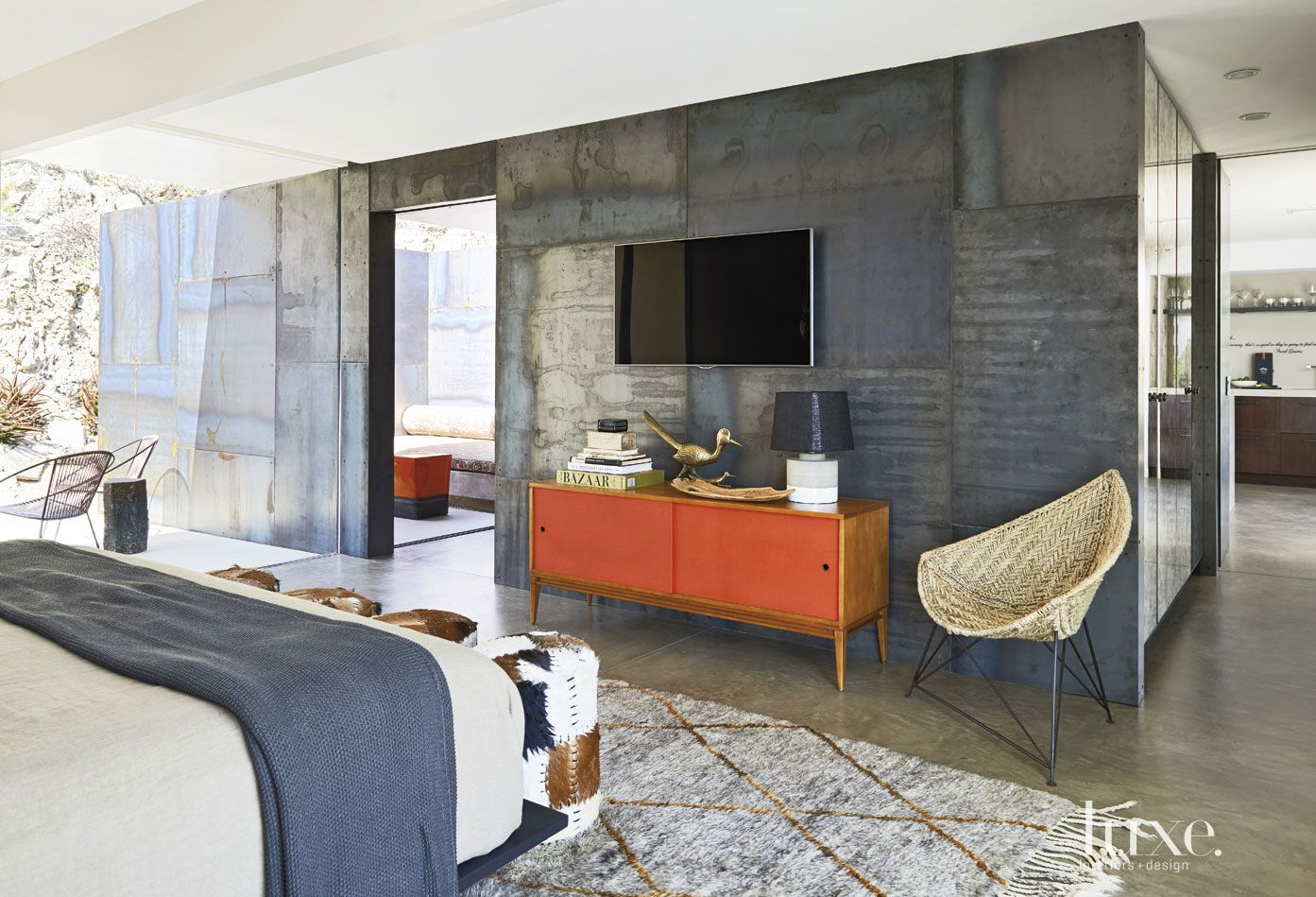 Modern Master Bedroom Rolled-Steel Feature Wall