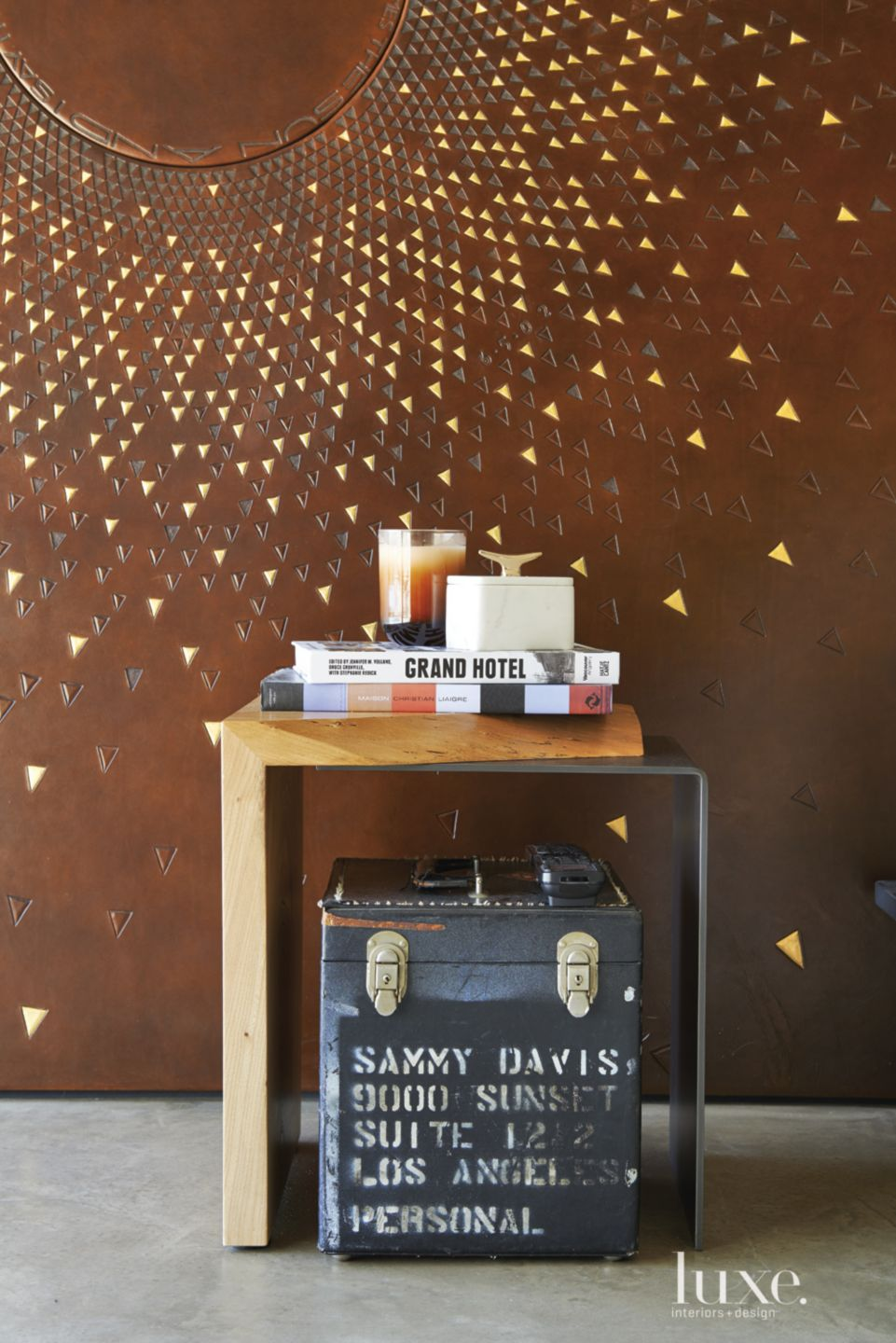 Modern Brown Leather Master Bedroom Feature Wall