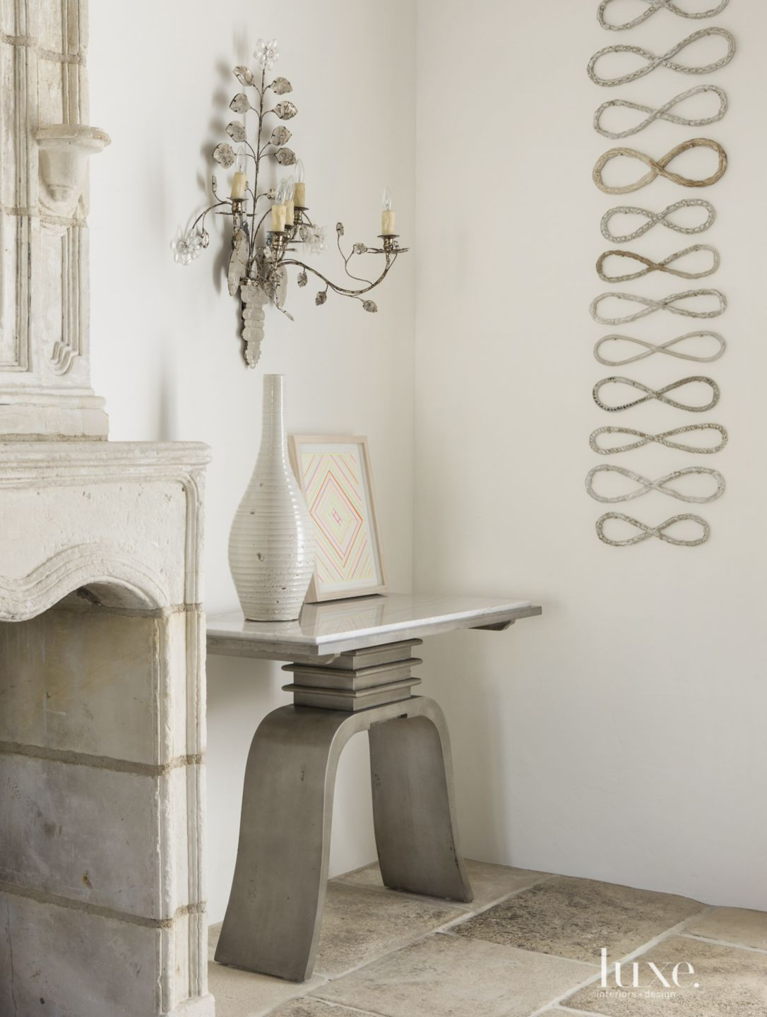 Transitional White Dining Room Detail with Oak Console