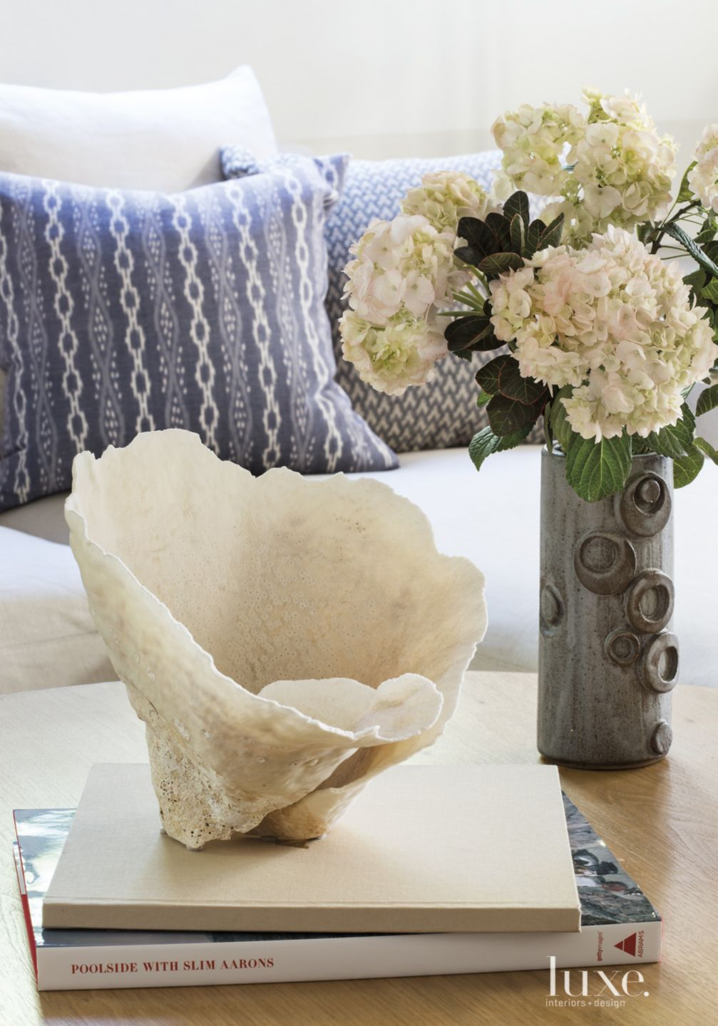 Transitional Family Room Detail with Shell