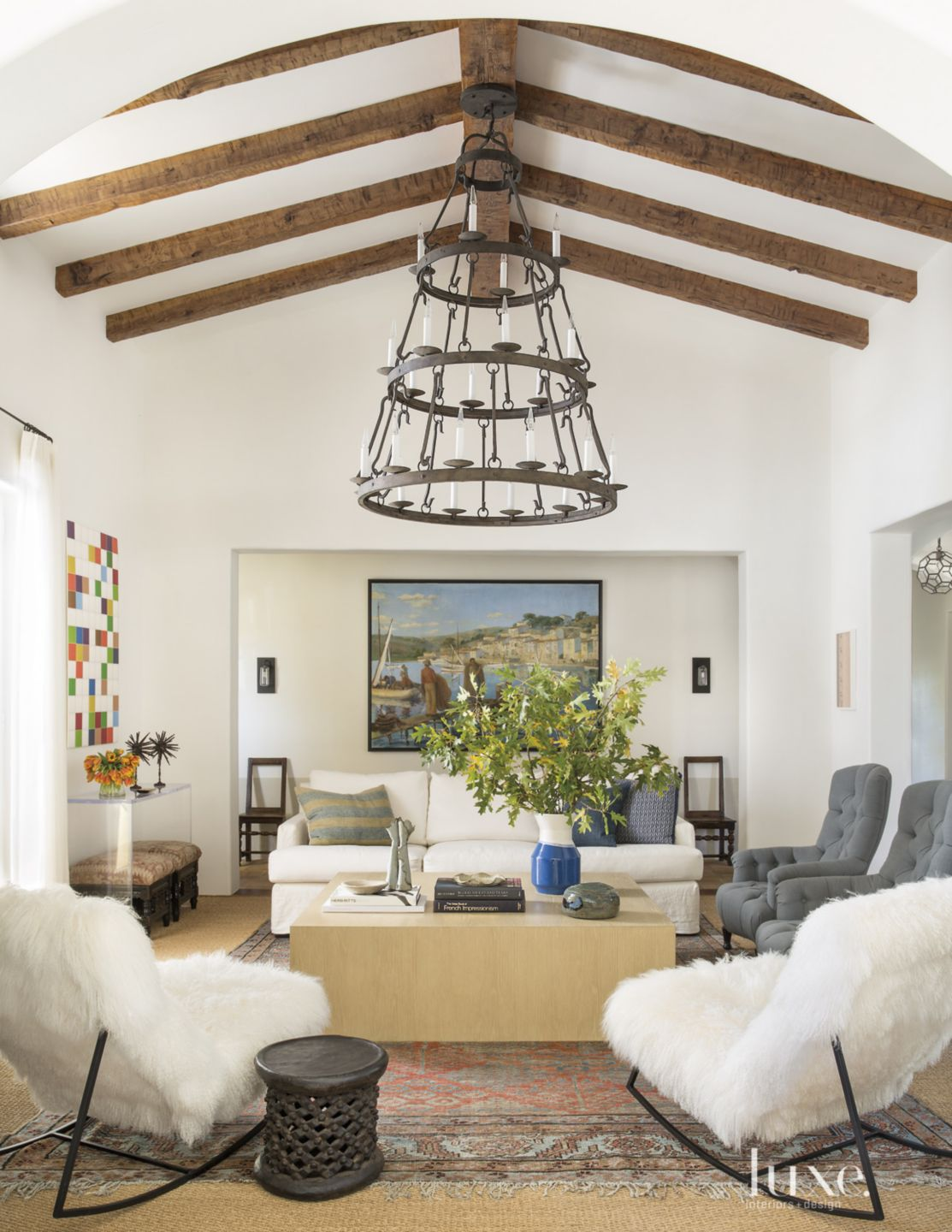 Transitional White Living Room with Tiered Chandelier