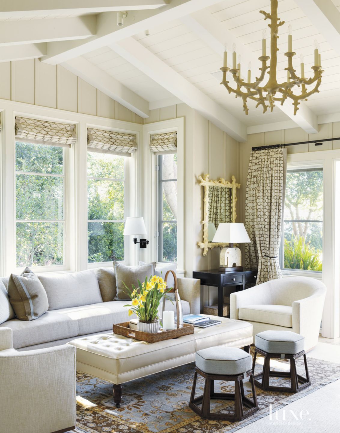 Contemporary Cream Living Room with Artistic Chandelier