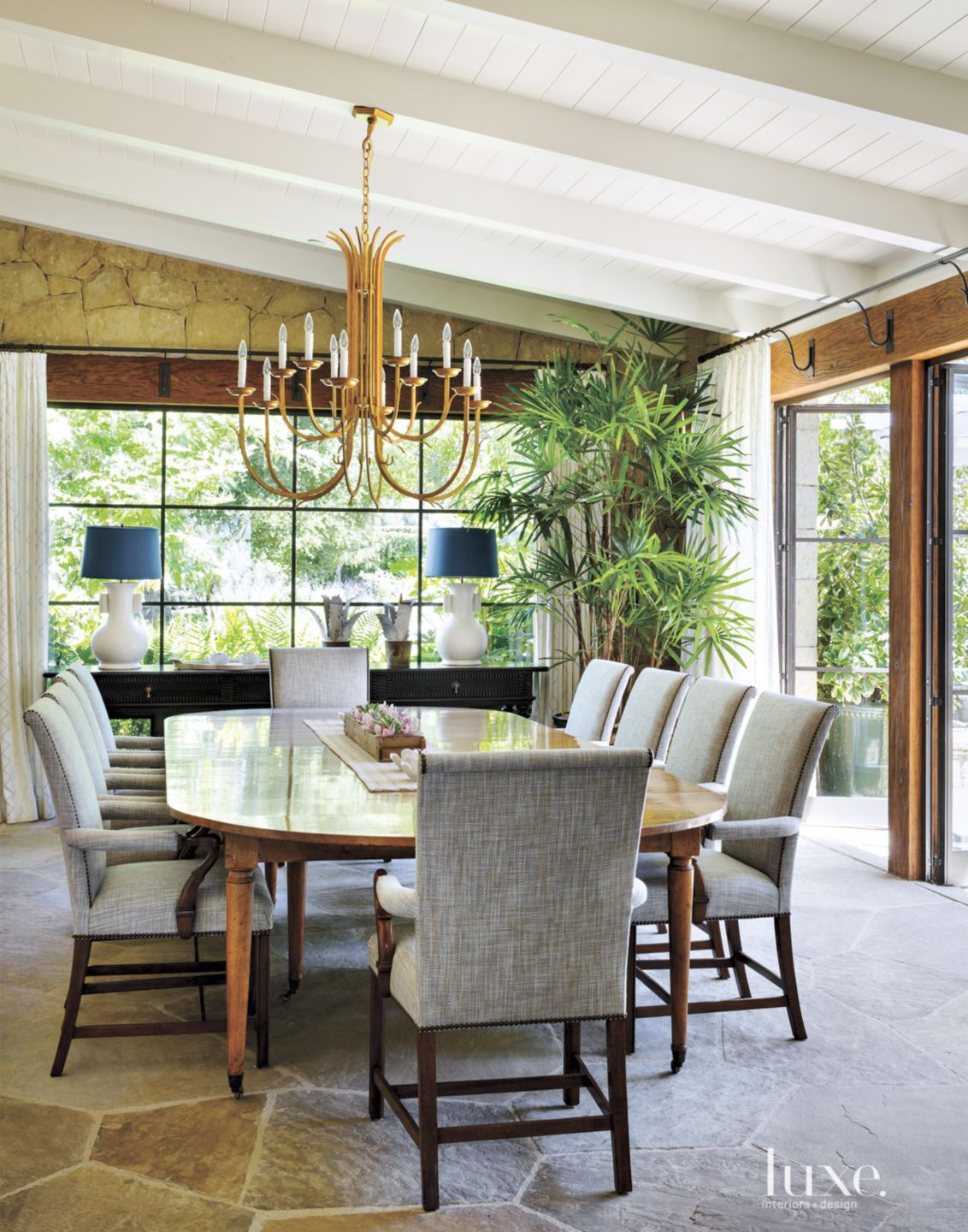 Contemporary Neutral Dining Room with Flagstone Floors