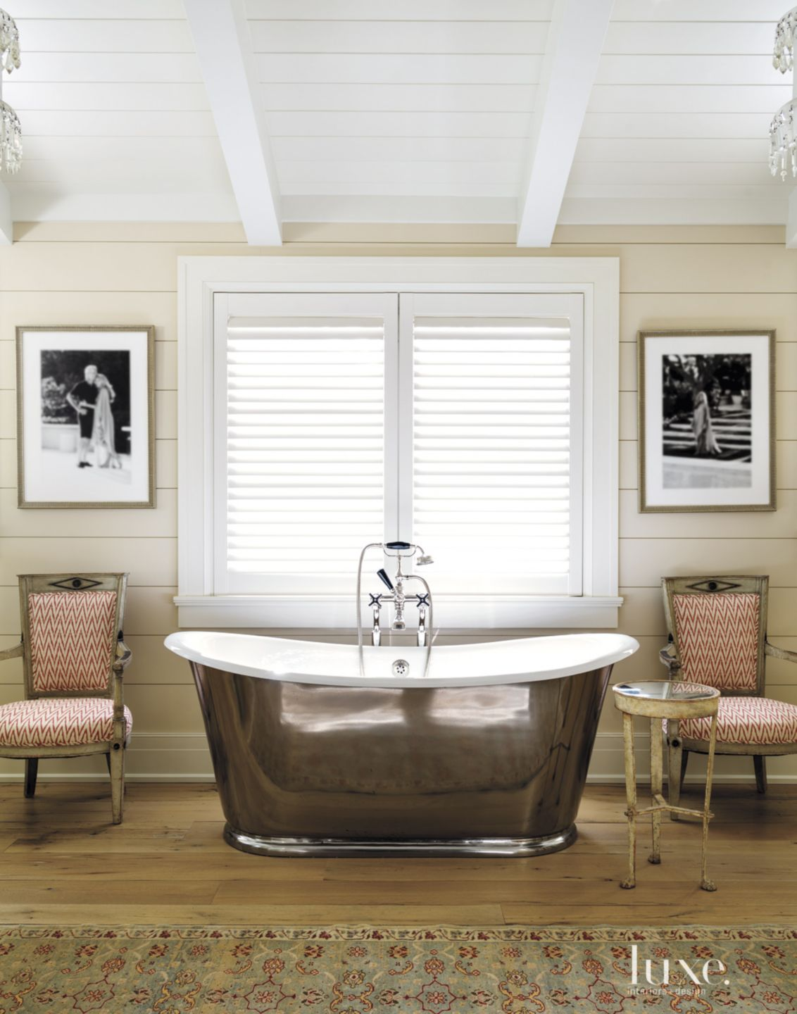 Contemporary White Bathroom with Antique Armchairs