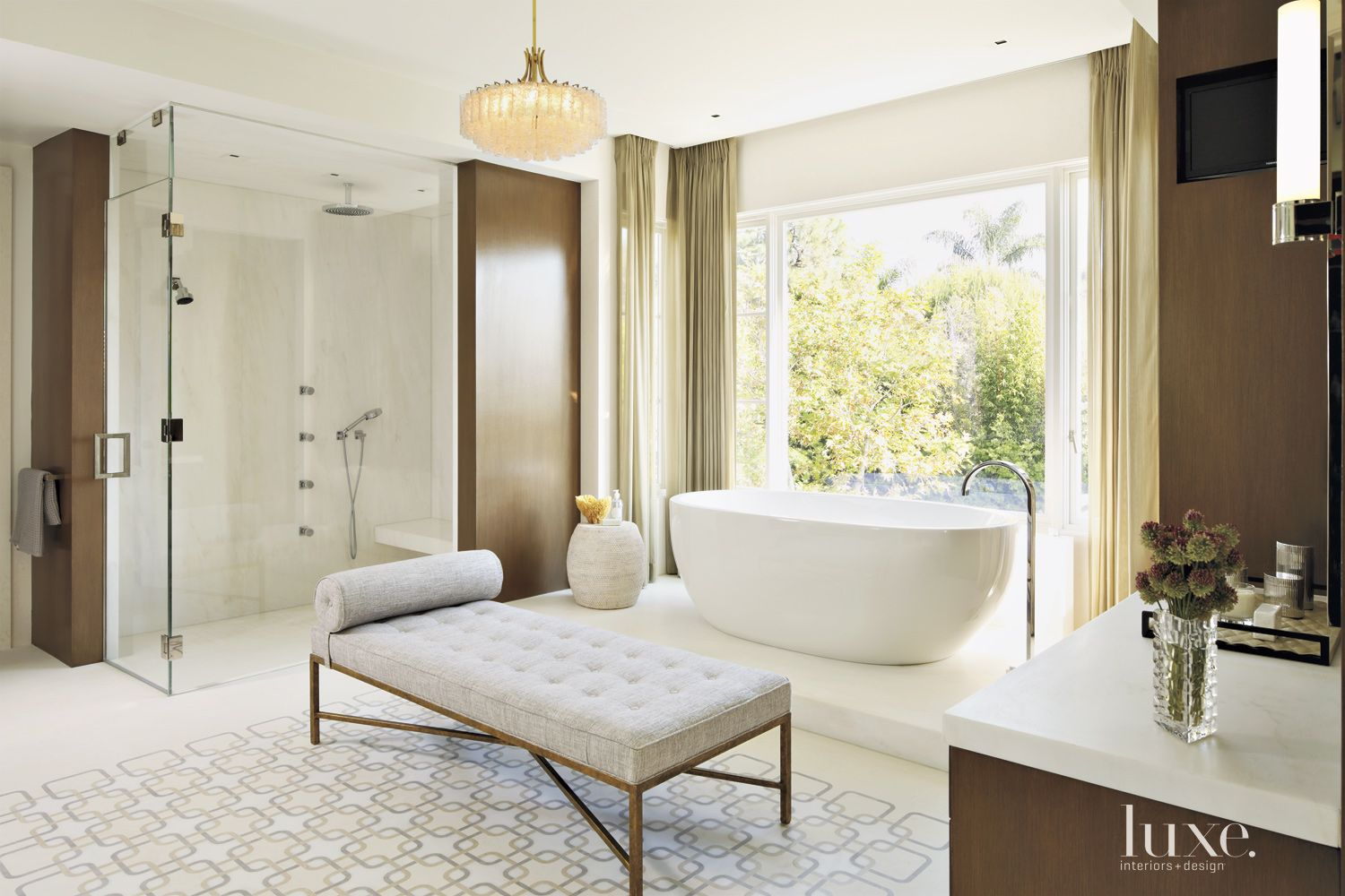 Contemporary Cream Master Bathroom with Freestanding Tub