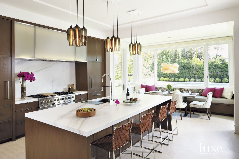 Contemporary Cream Kitchen with Breakfast Nook
