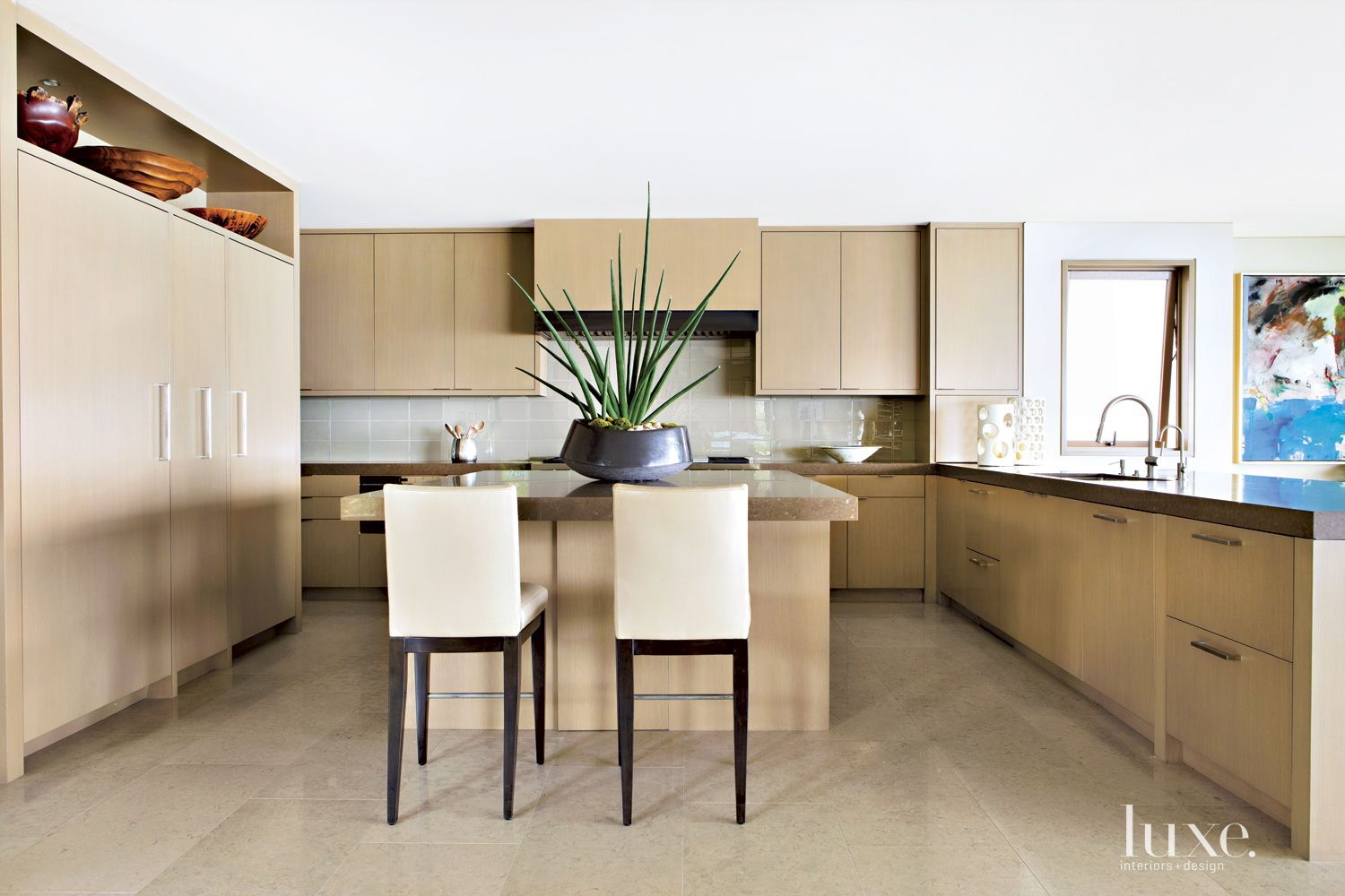 Contemporary Neutral Kitchen with Large Succulent