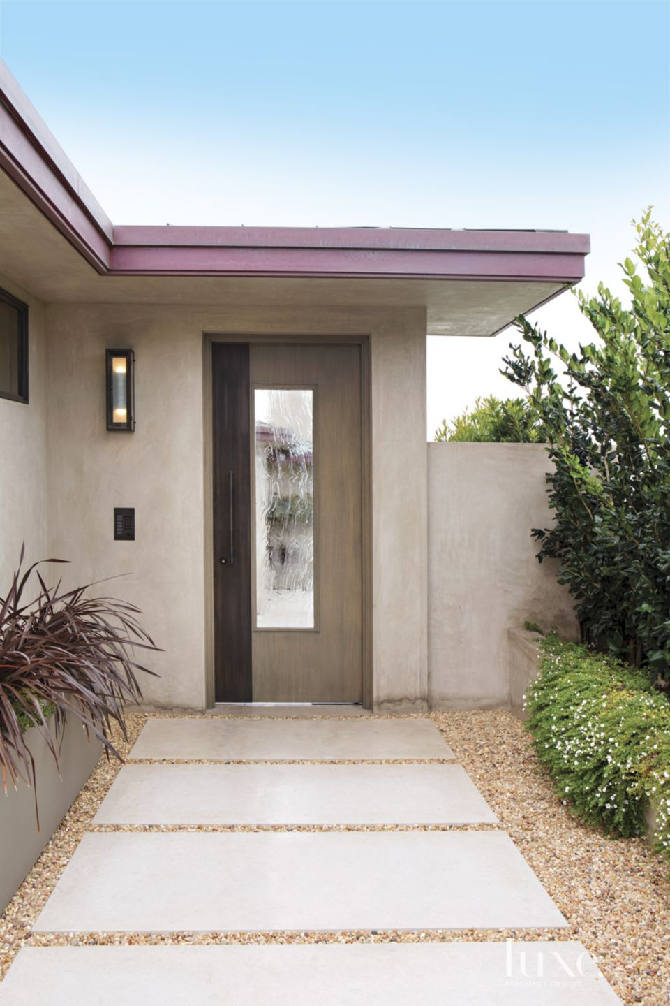 Contemporary Neutral Entry with Custom Sconce