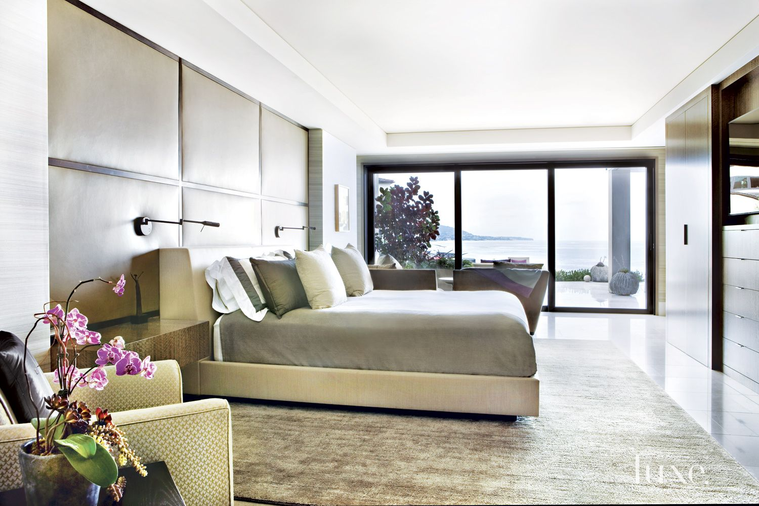 Contemporary Neutral Bedroom with Leather Wall Panel