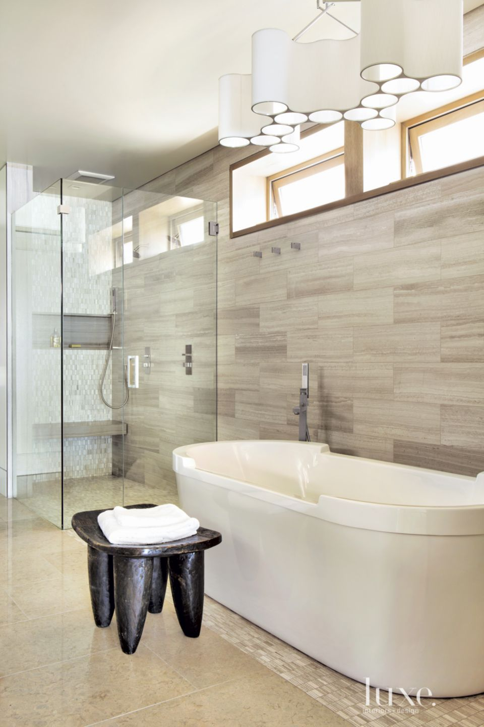 Contemporary Neutral Bathroom with Clerestory Windows