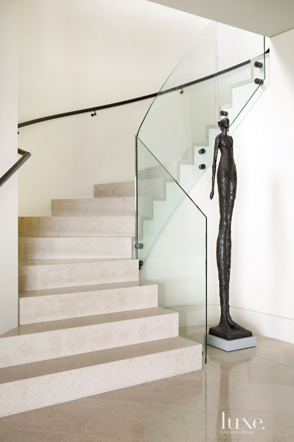 Contemporary Neutral Staircase with Sculpture