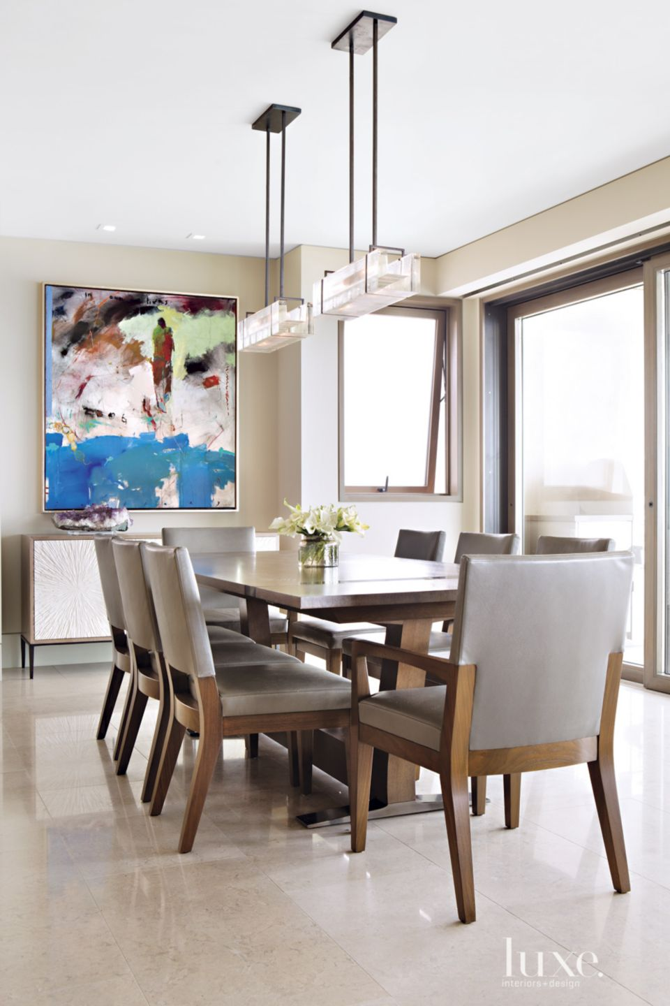 Contemporary Neutral Dining Area with Chris Gwaltney Artwork