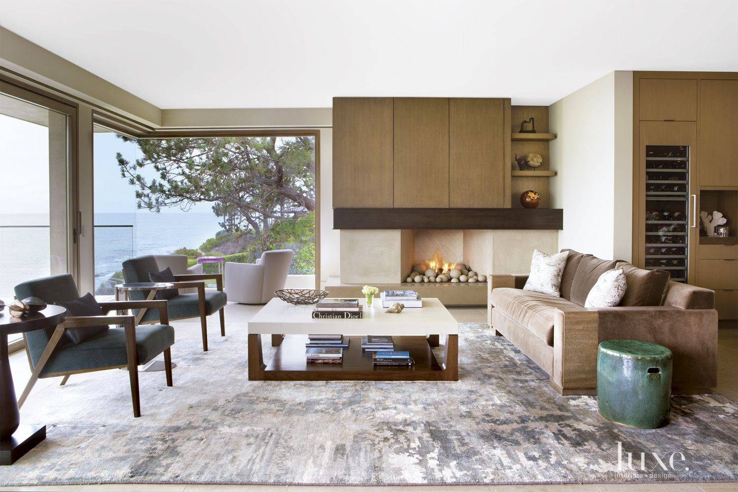 Contemporary Neutral Living Room with Glass Walls