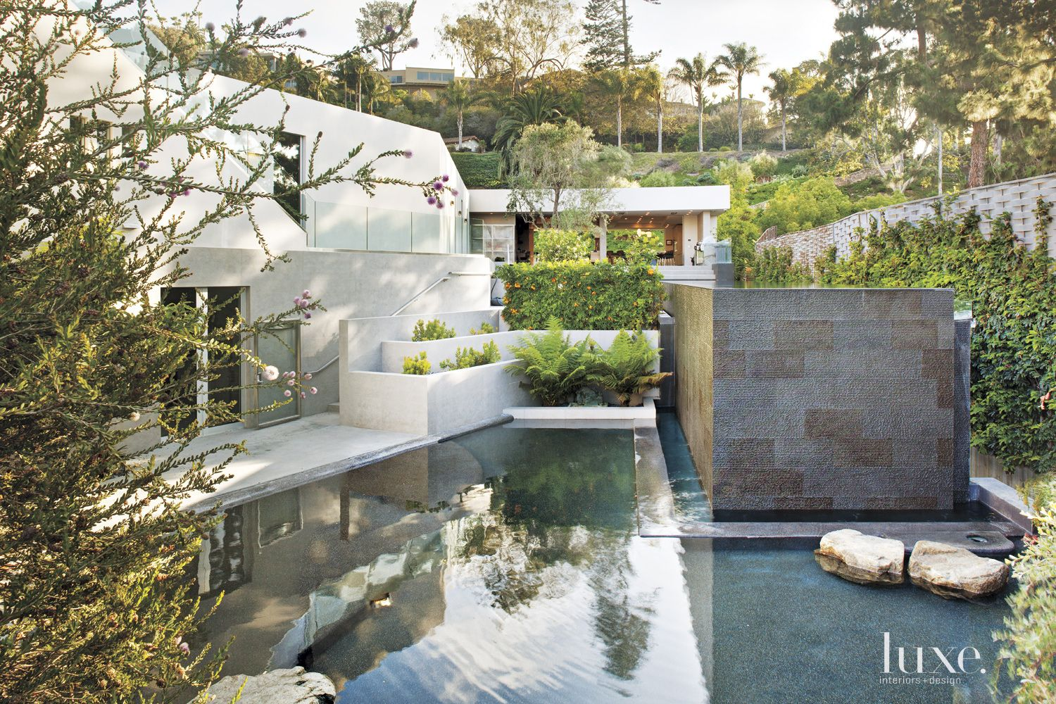 Contemporary Neutral Pool with Lush Plantings