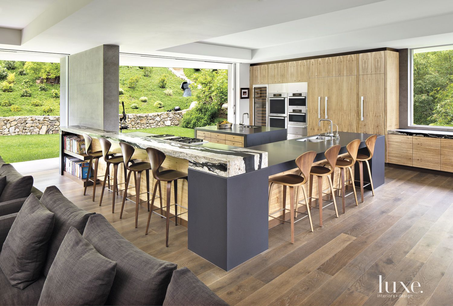 Contemporary Neutral Kitchen with Walnut Stools