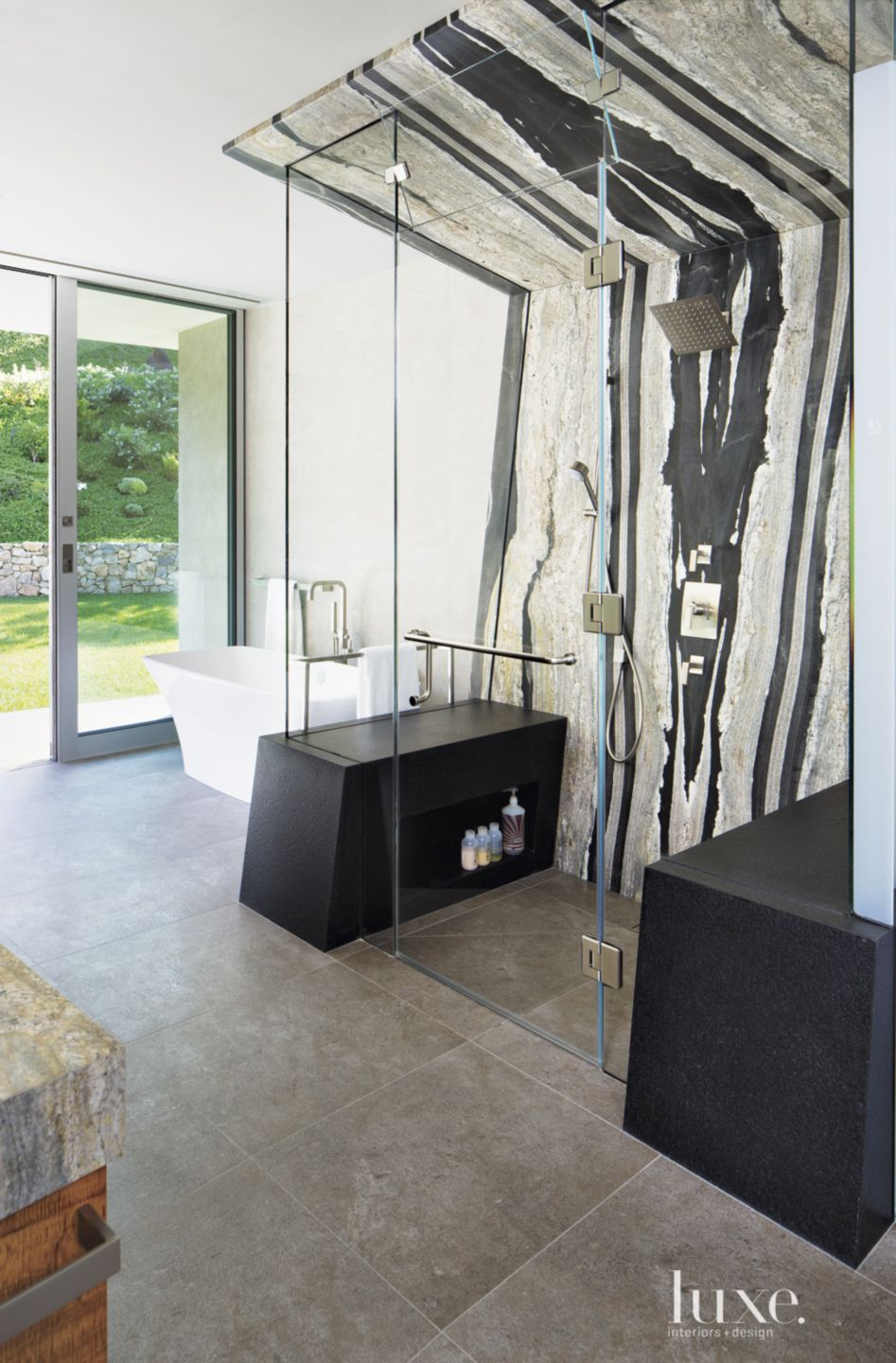 Contemporary Neutral Bathroom with Black-and-White Stone