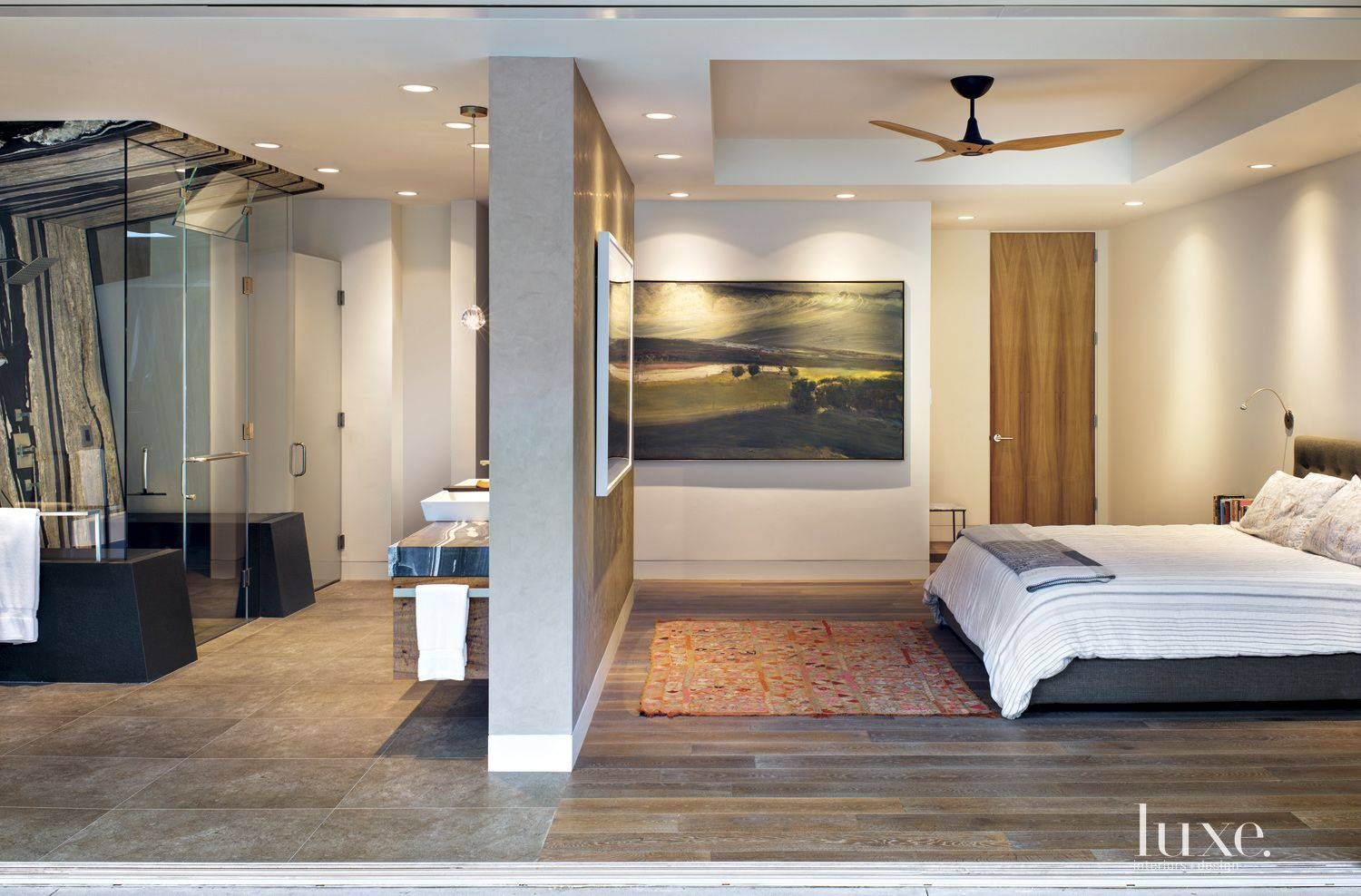 Contemporary Neutral Bedroom with Sculptural Fan