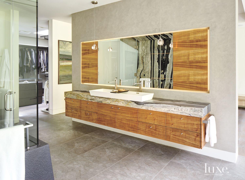 Contemporary Neutral Bathroom with Glass-Globe Pendants