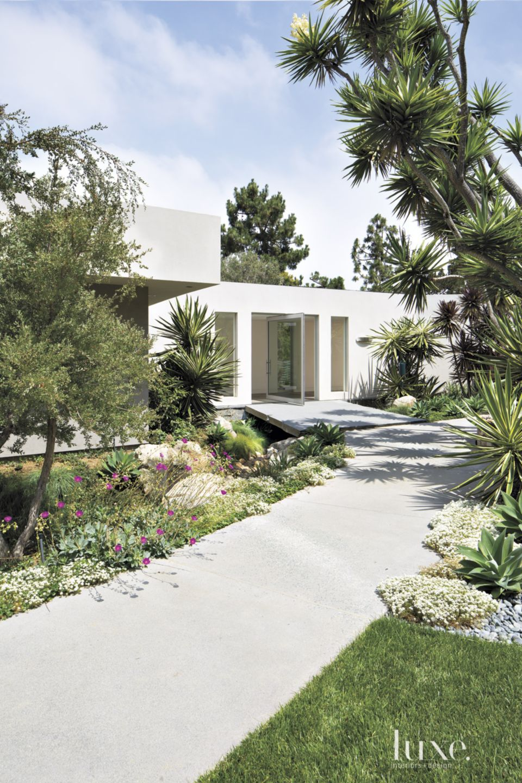 Contemporary Gray Exterior with Pivoting Door